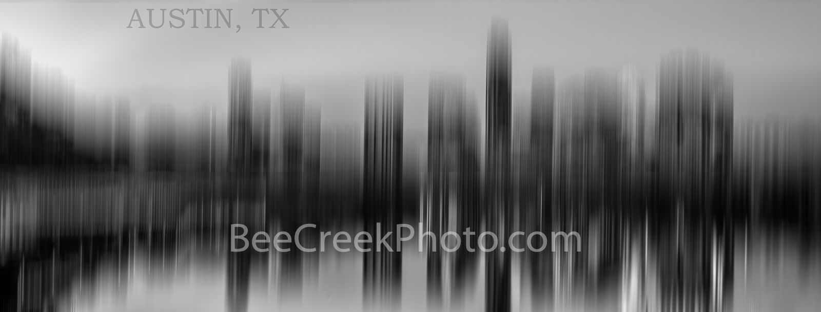 Austin Skyline, Abstract, BW, black and white, Pano, panorama, sureal, modern, contemporary, austin texas,  austin tx, downtown austin, photograph, , photo