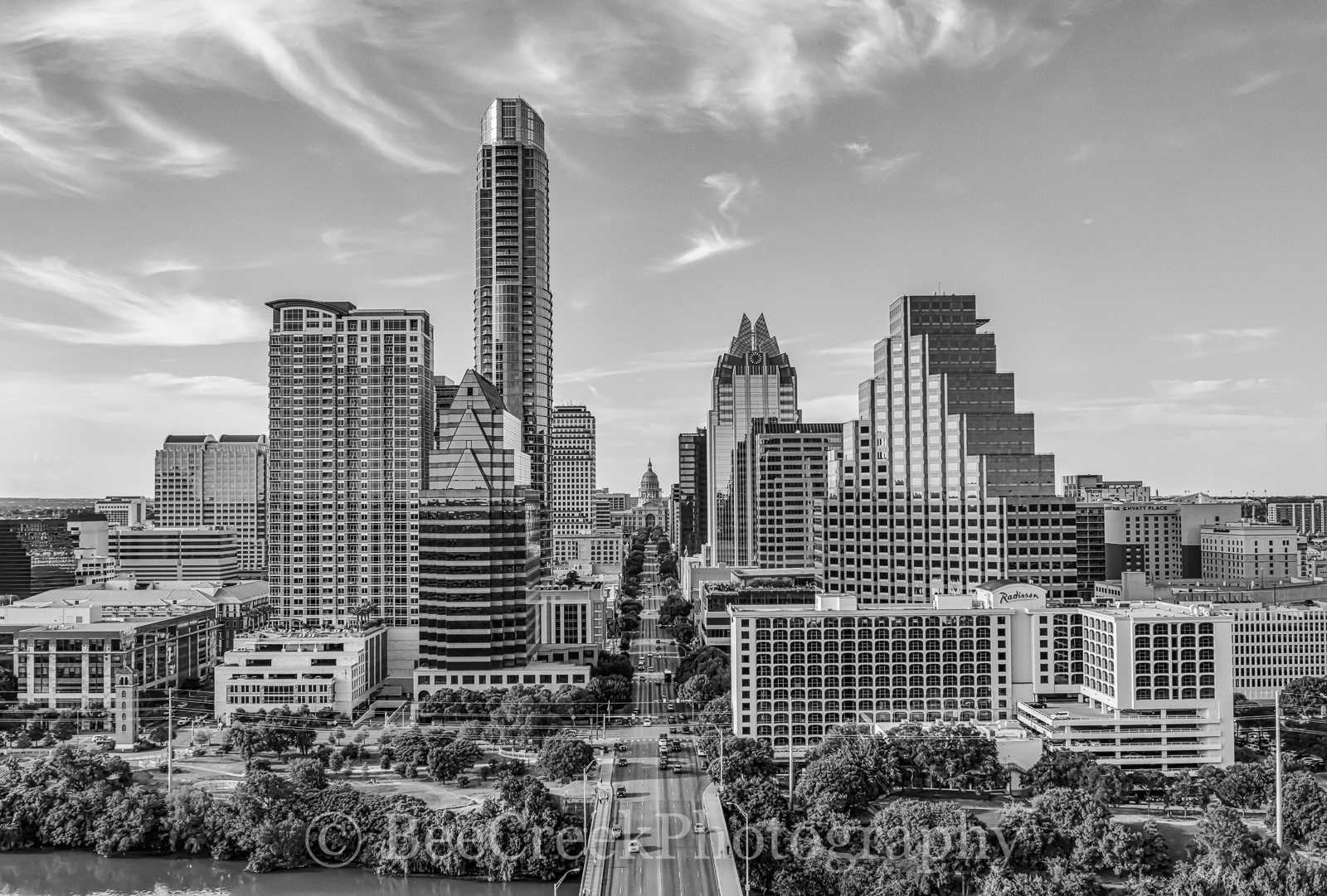 Austin Skyline in Black and White, aerial, austin skyline, downtown, skyline, city, cityscape, black and white, BW, Congress Ave, high-rise, buildings, Frost, Austonian, One Congress Plaza, Radisson, , photo