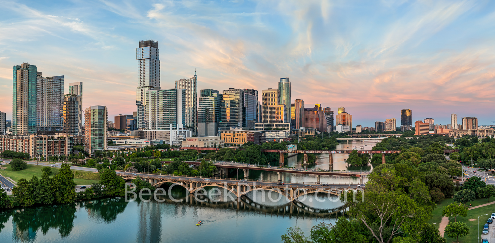 Austin skyline, aerial, drone, sunset, pics of texas, pics of austin, lamar bridge, lady bird lake, clouds, pink, orange, sky, clouds, hike and bike trail, architecture, urban landscape, bridges,, photo