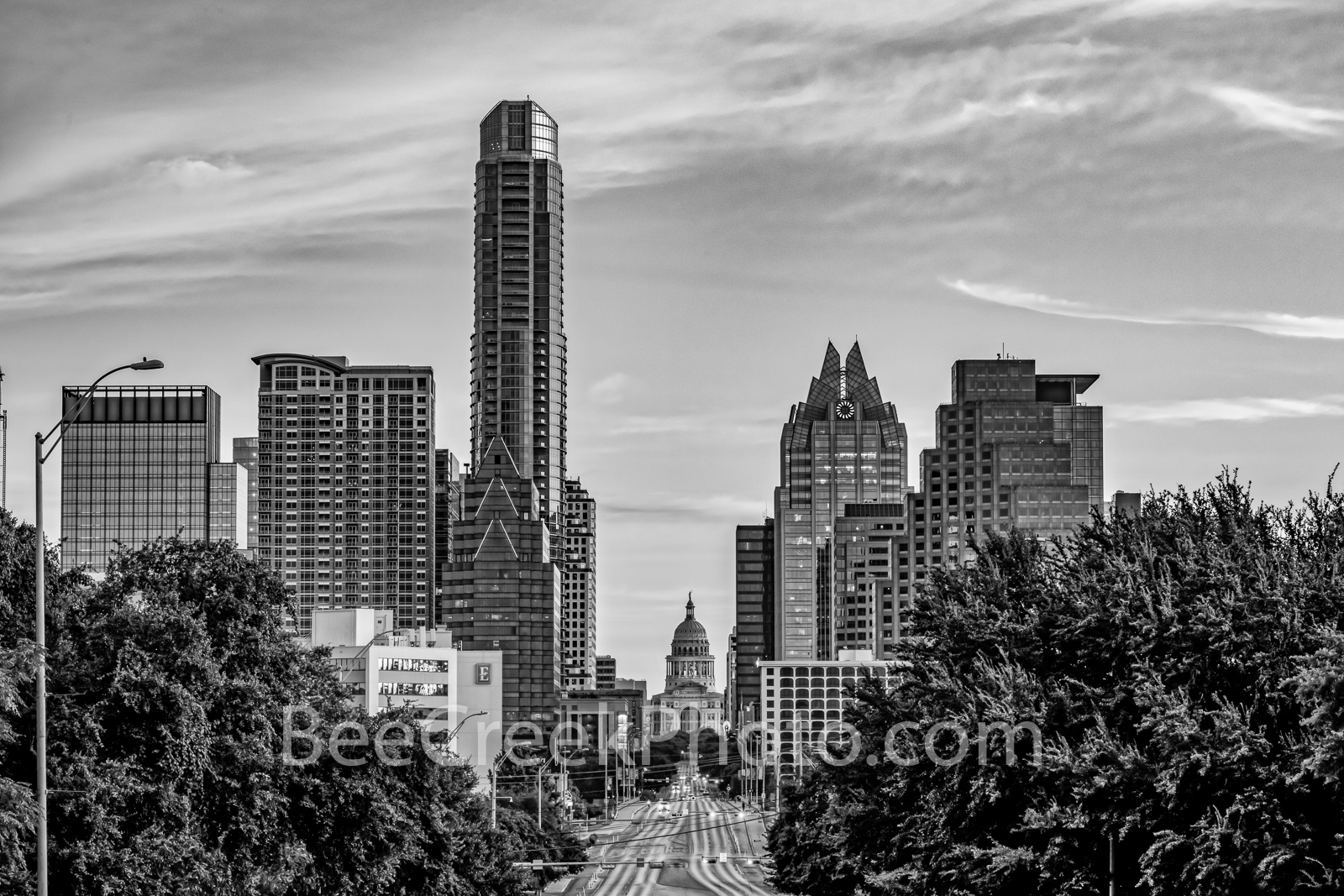 Austin Skyline and Texas Capitol Sunrise BW - A view looking up Congress toward the Texas Capitol with the downtown Austin skyline...