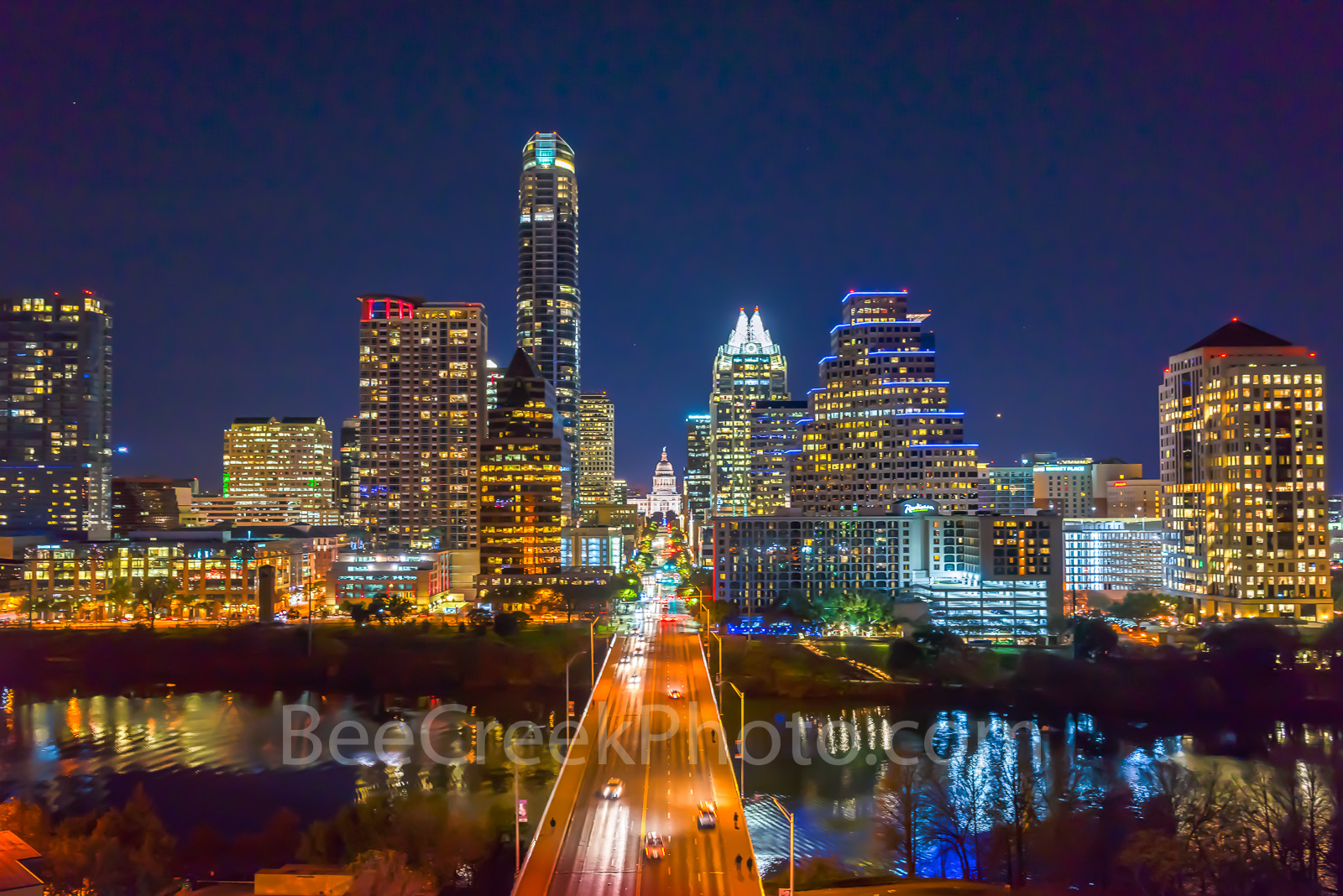 Austin Skyline at Congress ave, Austin, aerial, skyline, skylines, cityscapes, cityscape, downtown, modern, city, cities, urban, Congress ave. city scene, landscape, architectual, skyscrapers, Texas C, photo