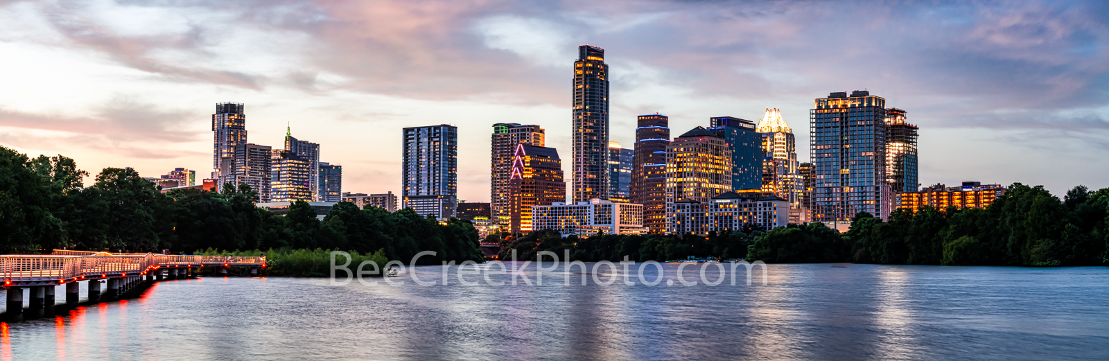 Austin, Skyline, Austin skyline, Texas, pics of Texas,Texas skylines, images of Austin, urban landscape, city, downtown, skyscrapers, color, dusk, clolor, sunset, boardwalk, hike and bike trail, lady , photo