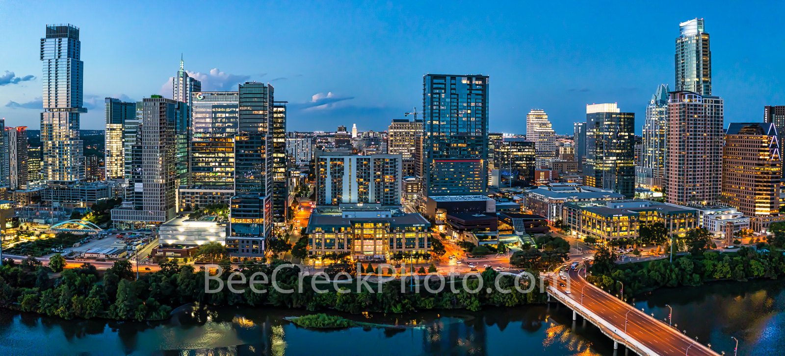 Aerial, Austin Skyline, dusk, twilight, Austin, skyline, austin skyline pictures, aerial, blue hour, lady bird lake, hike and bike trail, cityscape, water, pano, panorama, tallest building, Independen, photo