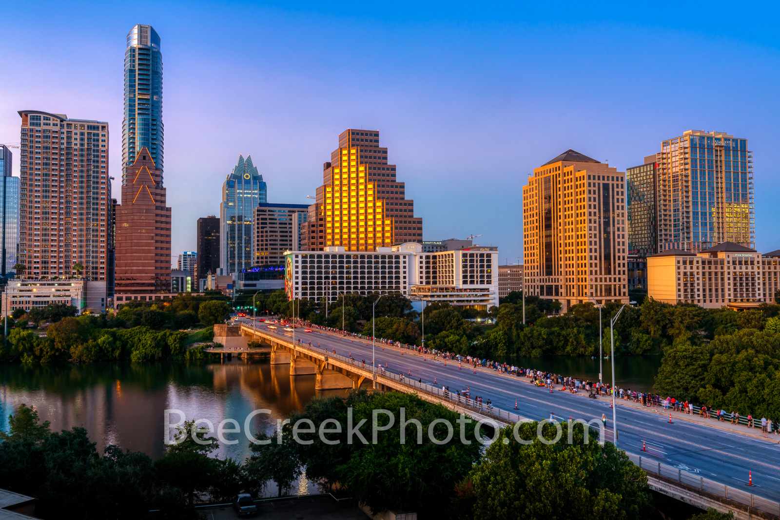 austin, texas, austin downtown, austin texas, austin skyline twilight, twilight, congress bridge, downtown austin, austin skyline, lady bird lake, golden glow, violet, pink, blue hour, congress, town , photo