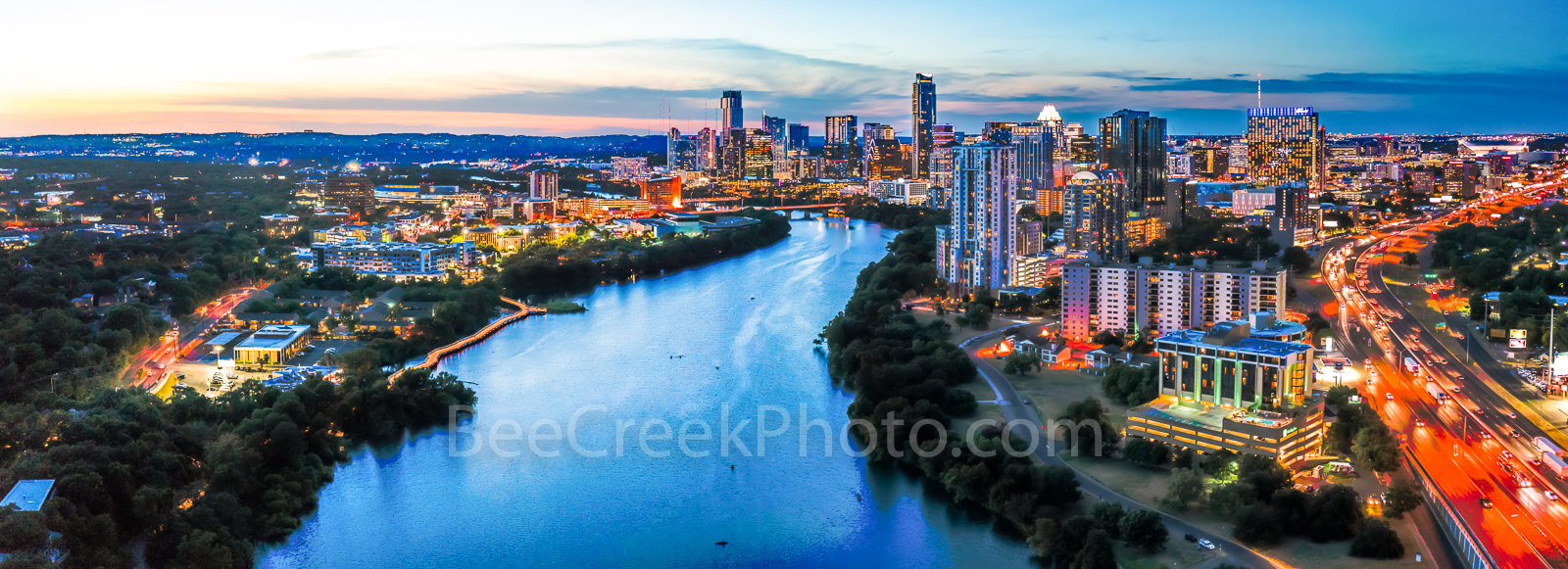 Austin Skyline at Twilight Panorama, Austin skyline pictures, Austin skyline pictures, images of austin skyline, aerial, drone, Austin, night, twilight, dark, Lady Bird Lake, high rise buildings, arch, photo