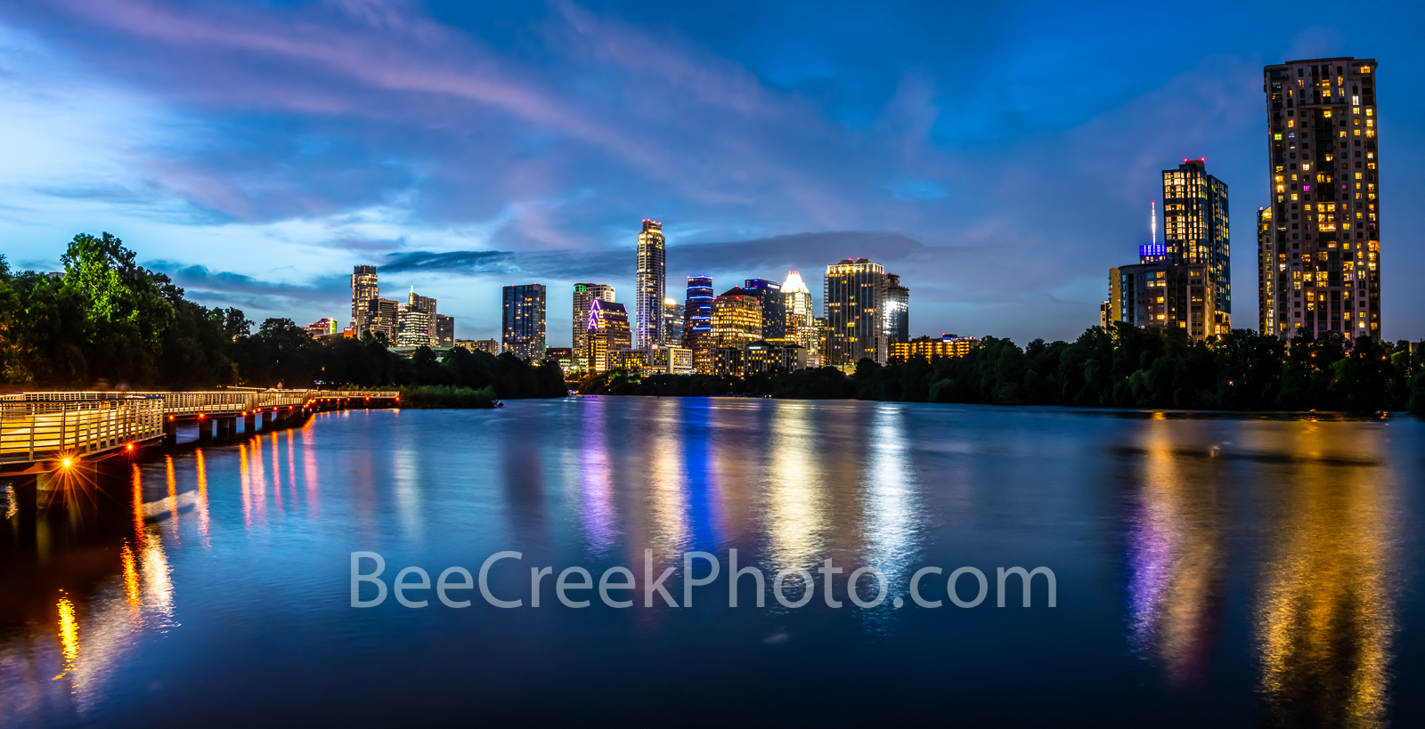 Austin skyline, Austin, skyline, downtown austin, downtown, city of austin, boardwalk, night, twilight, architecture, urban, hike and bike trail,