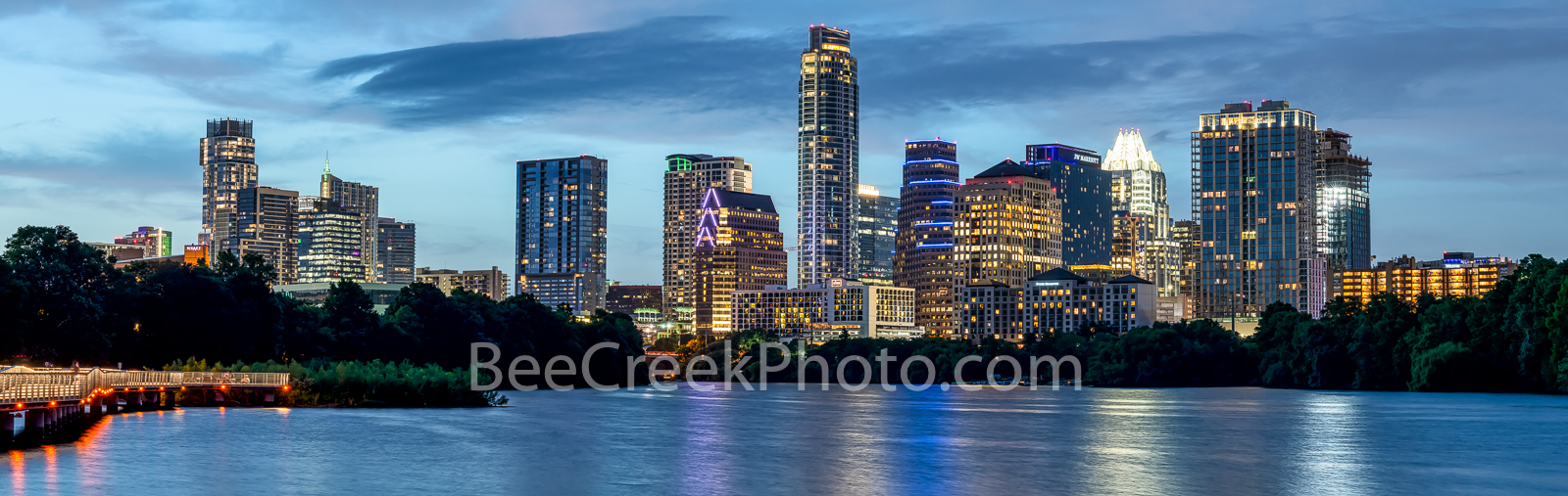 Austin Skyline, dusk, twilight, Austin, skyline, blue hour, lady bird lake, pic of texas,  hike and bike trail, cityscape, water, pano, panorama, tallest building, Independent, Jingle, Google, Northsh, photo