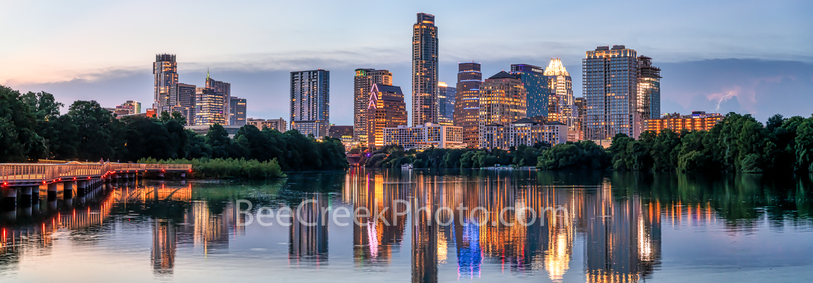 texas, austin skyline, downtown austin, austin downtown, twilight, architecture, city, ladybird lake, landscape, reflection, panorama, pano, panoramic,, photo