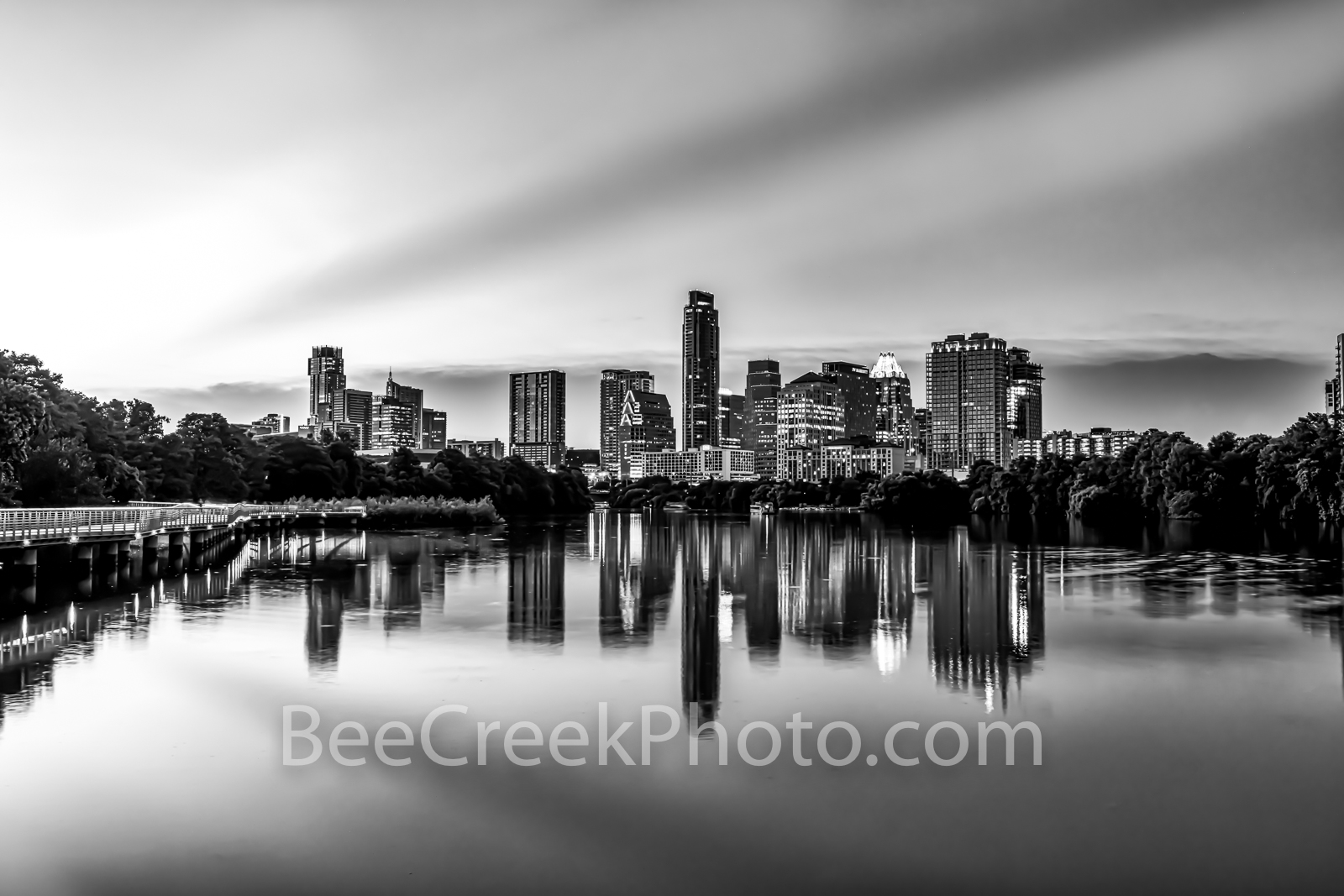 Austin Skyline Reflection B W - Urban Landscape Canvas Prints - Another great Austin Skyline from the Boardwalk with these wonderful...