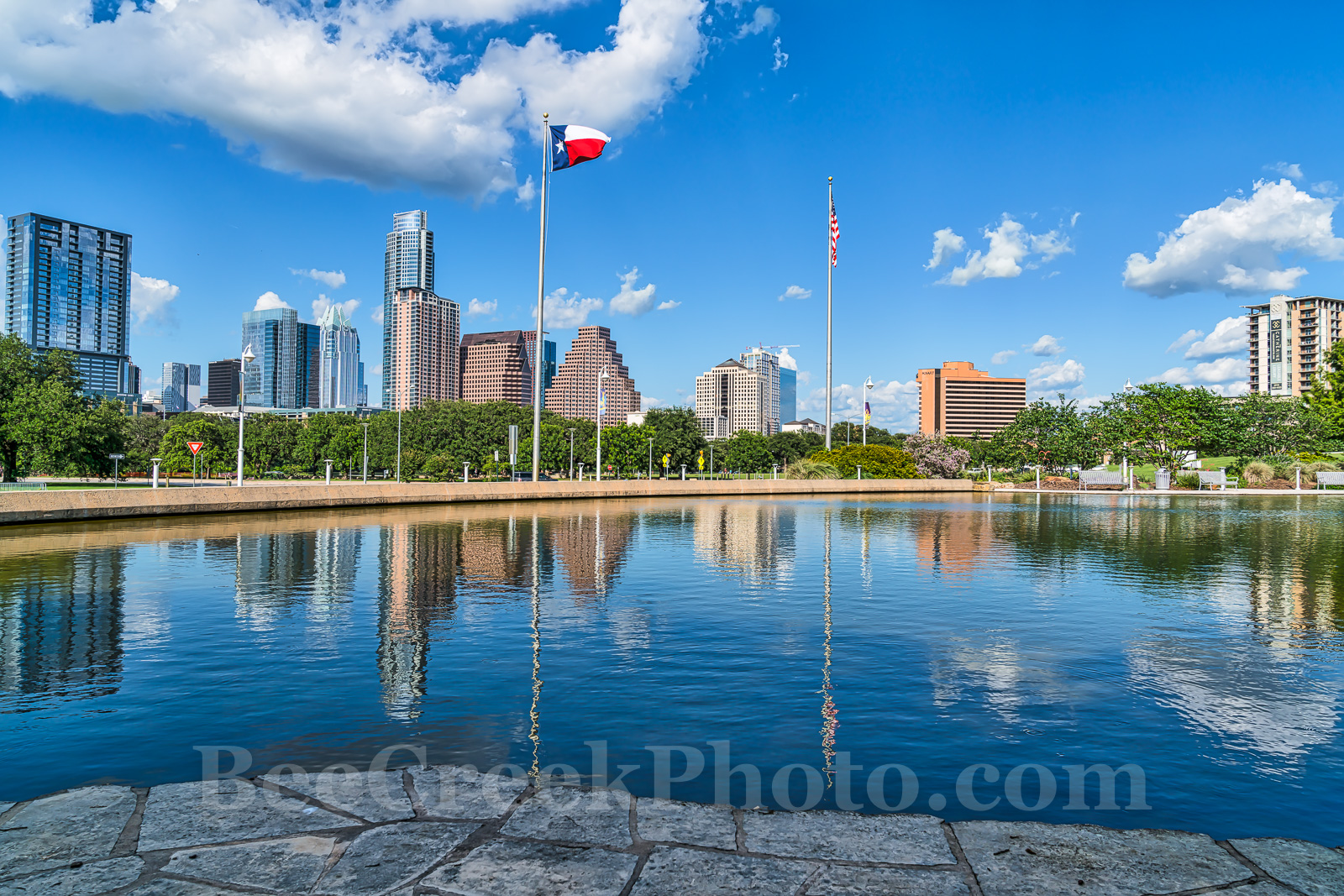 Austin, skyline, cityscape, Austin Skyline Reflection, downtown, water, Long Center, reflections, cityscape, city, blue sky, clouds, buildings, high rise, images of austin, images of austin skyline, T, photo