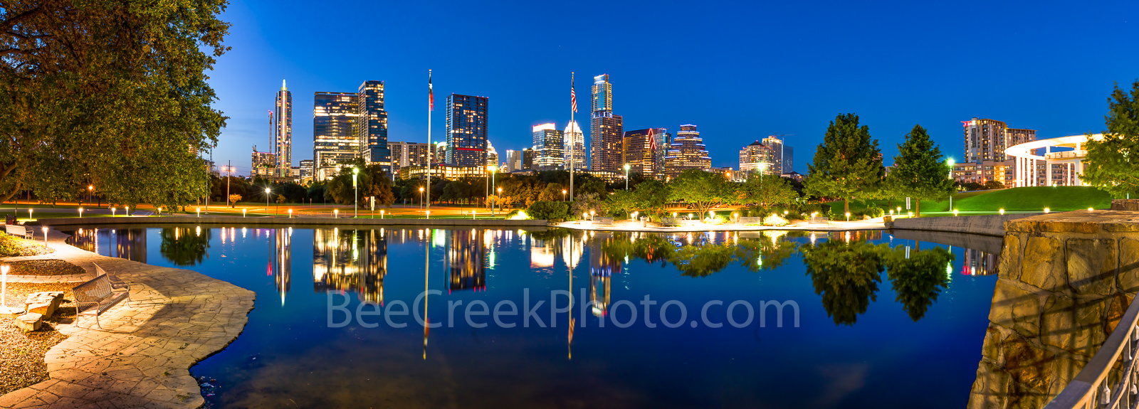 Austin, skyline, Austin Skyline, Austin Skyline Reflection Pano, Center, reflections, pool, Butler Park, Palmer Event Center, path, bench, city, cityscape, downtown, urban, high rise, buildings, skysc, photo