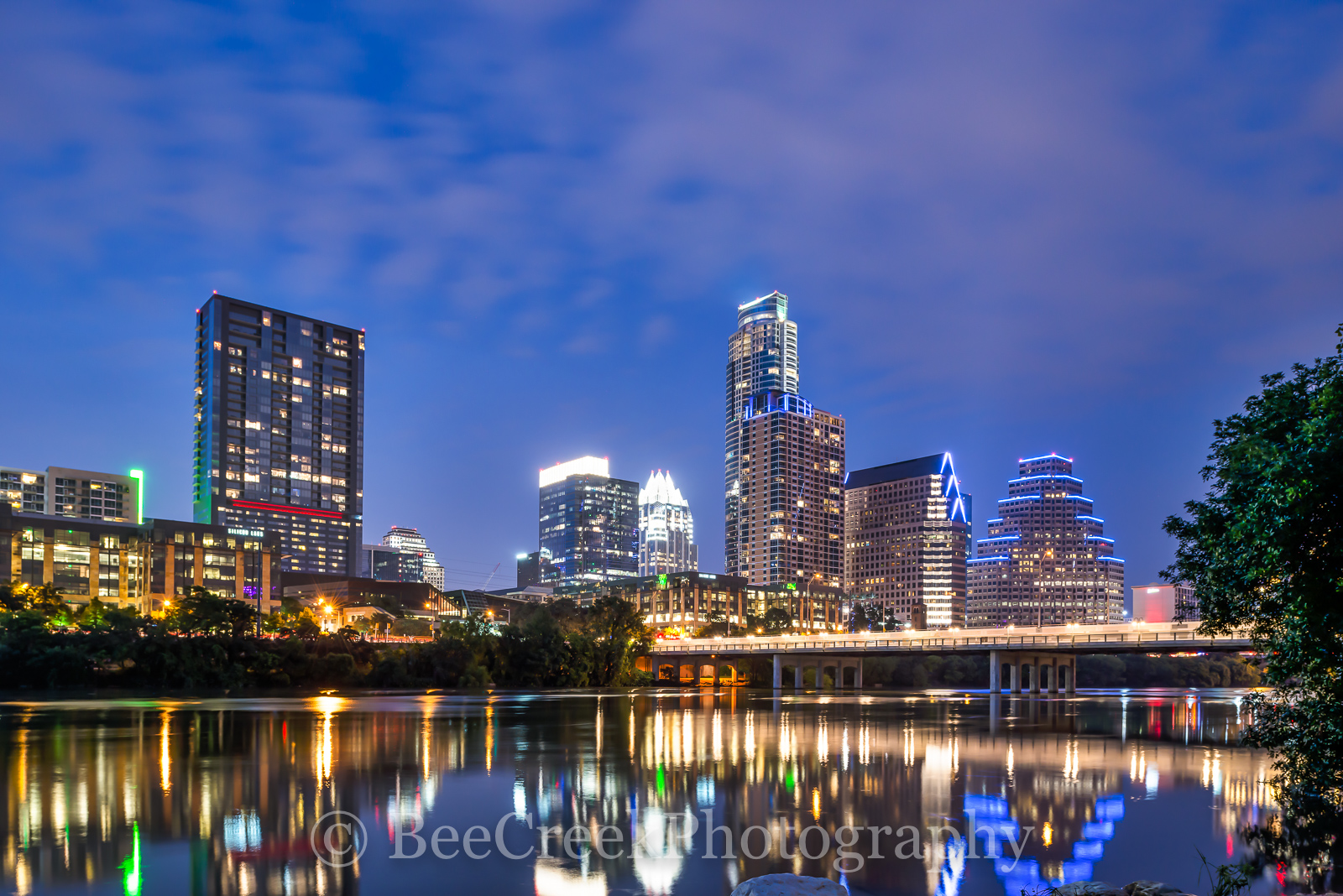 Austin, skylines, cityscapes, city, urban, first street bridge, cities, downtown, shoreline, night, evening, dark, reflections, blue hour, Lady Bird Lake, hike and bike trail, auditorium shores, Vic M, photo