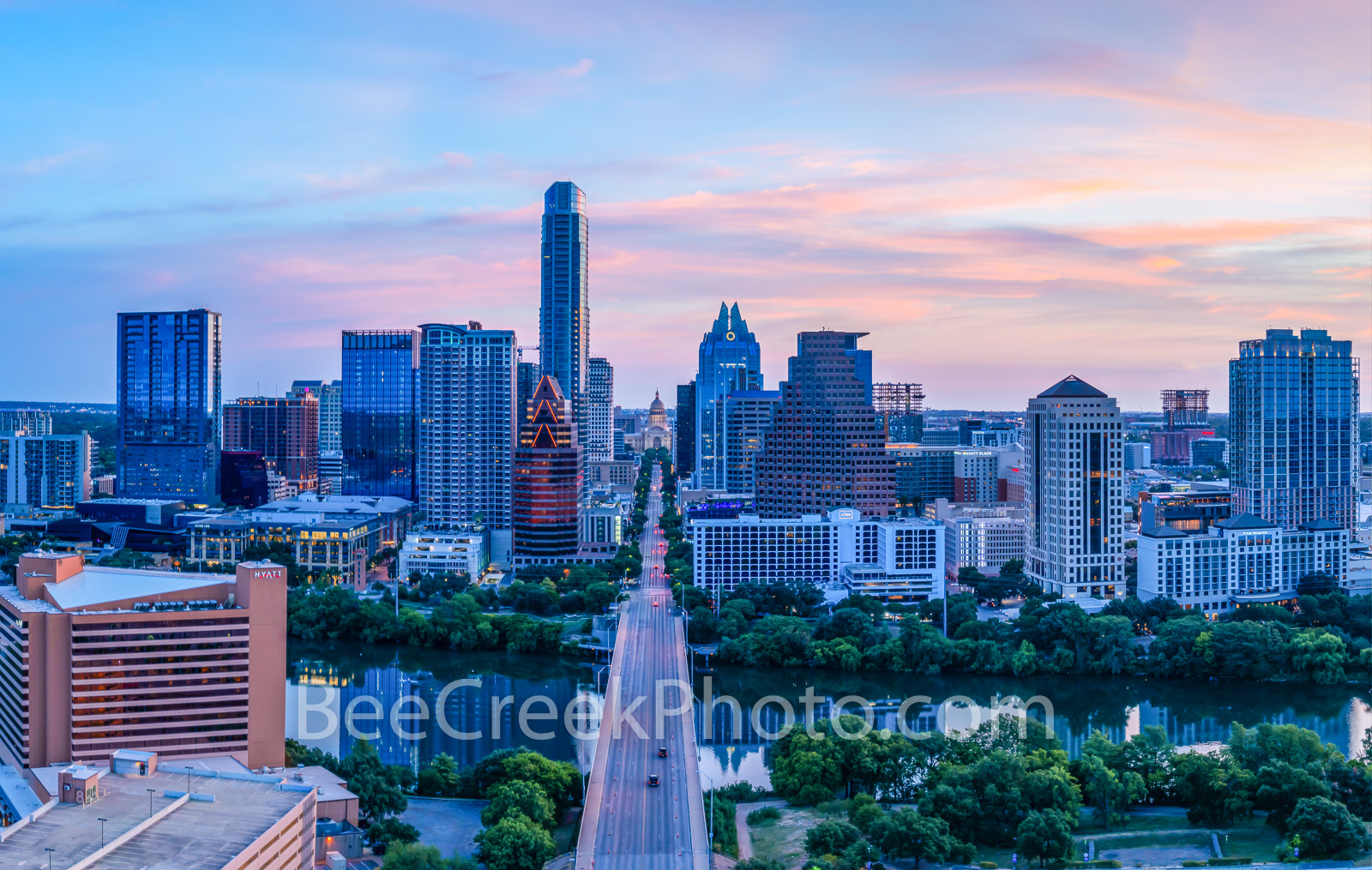 austin skyline, austin texas sunrise, texas,  austin tx, Austin, texas capitol, downtown austin, austin, city of austin, sunset, congress bridge, architecture, sunrise, pinks, yellow, purple,, photo