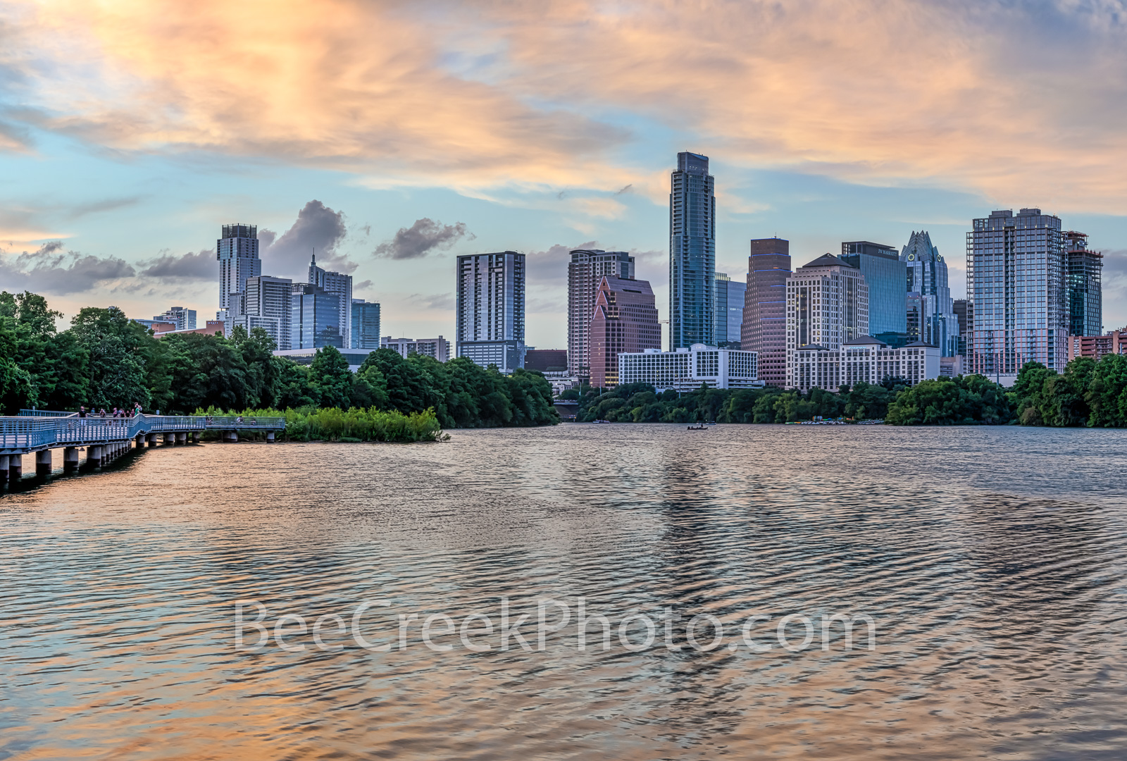Austin Skyline, Sunset, urban, pink, glow, lady bird lake, shoreline, boardwalk, high rise, buildings, pics of texas, skyline, parks, hike and bike trails, landscape, photo