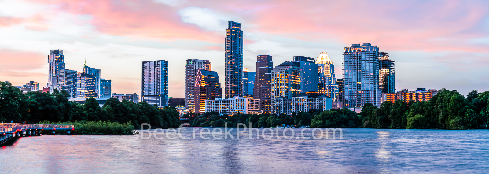 Austin Skyline, Austin, skyline, twilight, downtown austin, pics of texas, images of texas, downtown, city of austin, Dusk, lady bird lake, Panorama, pano,
