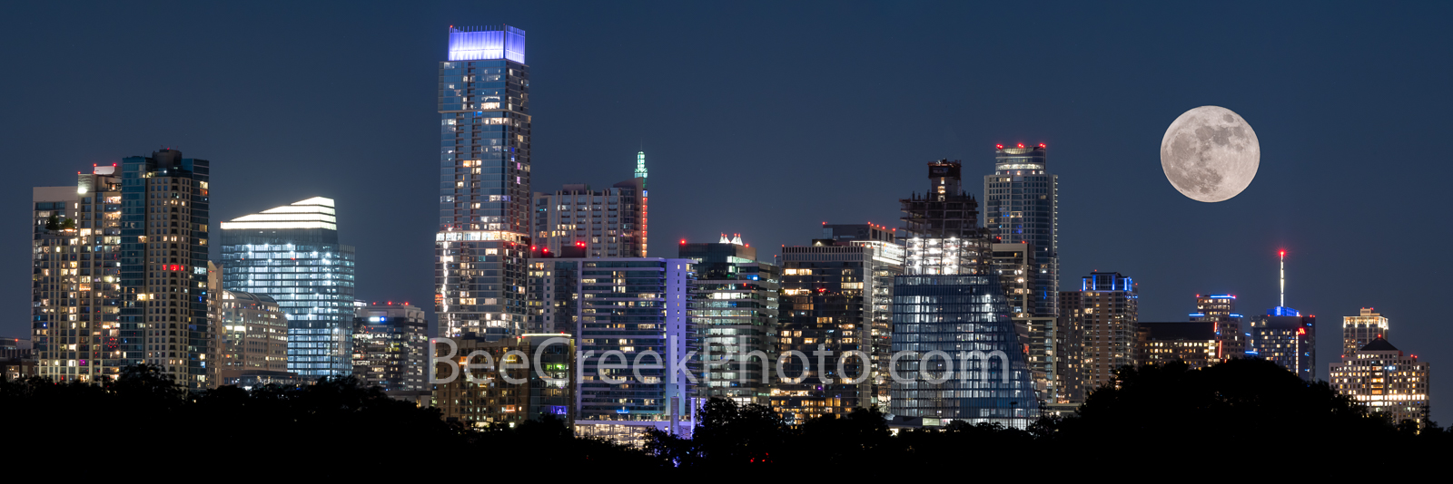 Austin Skyline with Moon Pano  - This the latest skyline from Zilker Park with a full moon in a composite.  This is one of the...