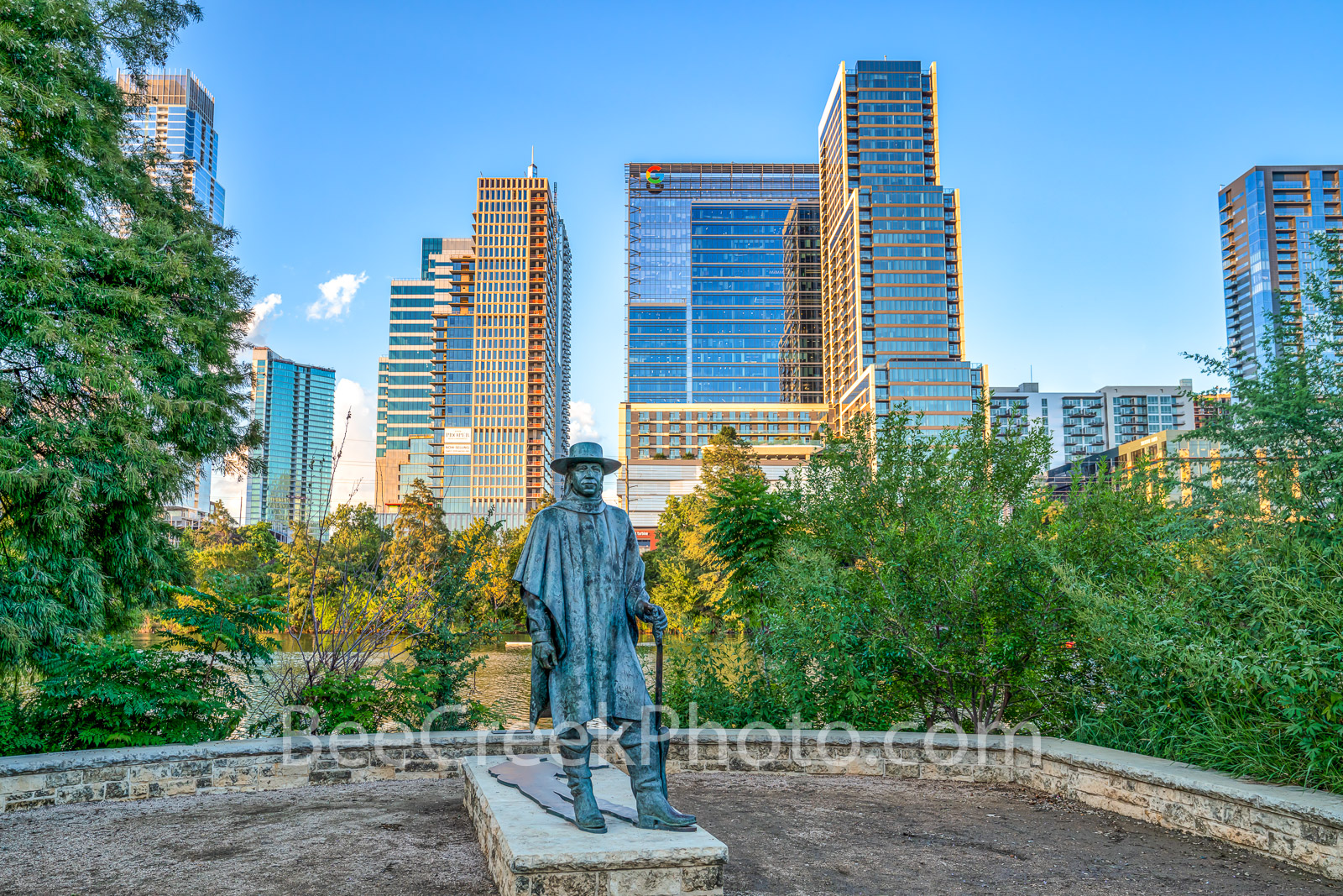 austin, skyline, Independent, Jingle, Stevie Ray Vaughan, statue, bronze, cityscape, Google, downtown, city, lady bird lake, town lake, downtown, blues, rock and roll hall of fame, music,musician,, photo