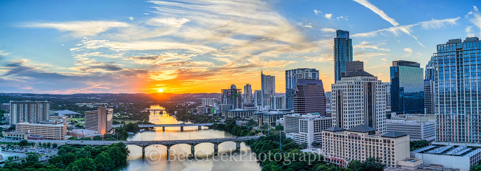 Austin, aerial, cityscape, panorama, pano, downtown, Ladybird Lake, sunset, city, high-rises, waterfront, congress bridge, Lamar Street Bridge, Austonian, 360 Condos, W, Marriott, Four Season, Frost, , photo