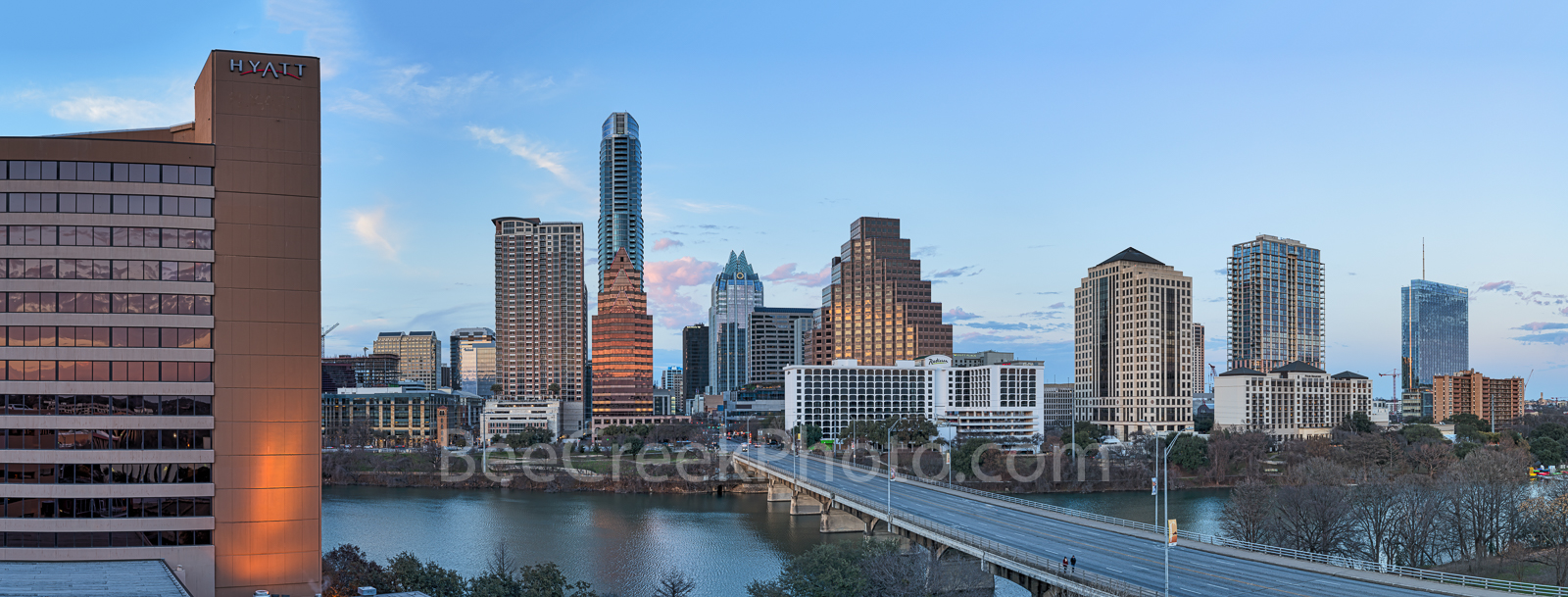 Austin Sunset Skyline Pano, Austin skyline,  Austin, Congress, pano, panorama, panoramic, Lady Bird Lake, sky, pink, Capitol, texas, state government, restaurants, recreation, trails, 10K's, Universit