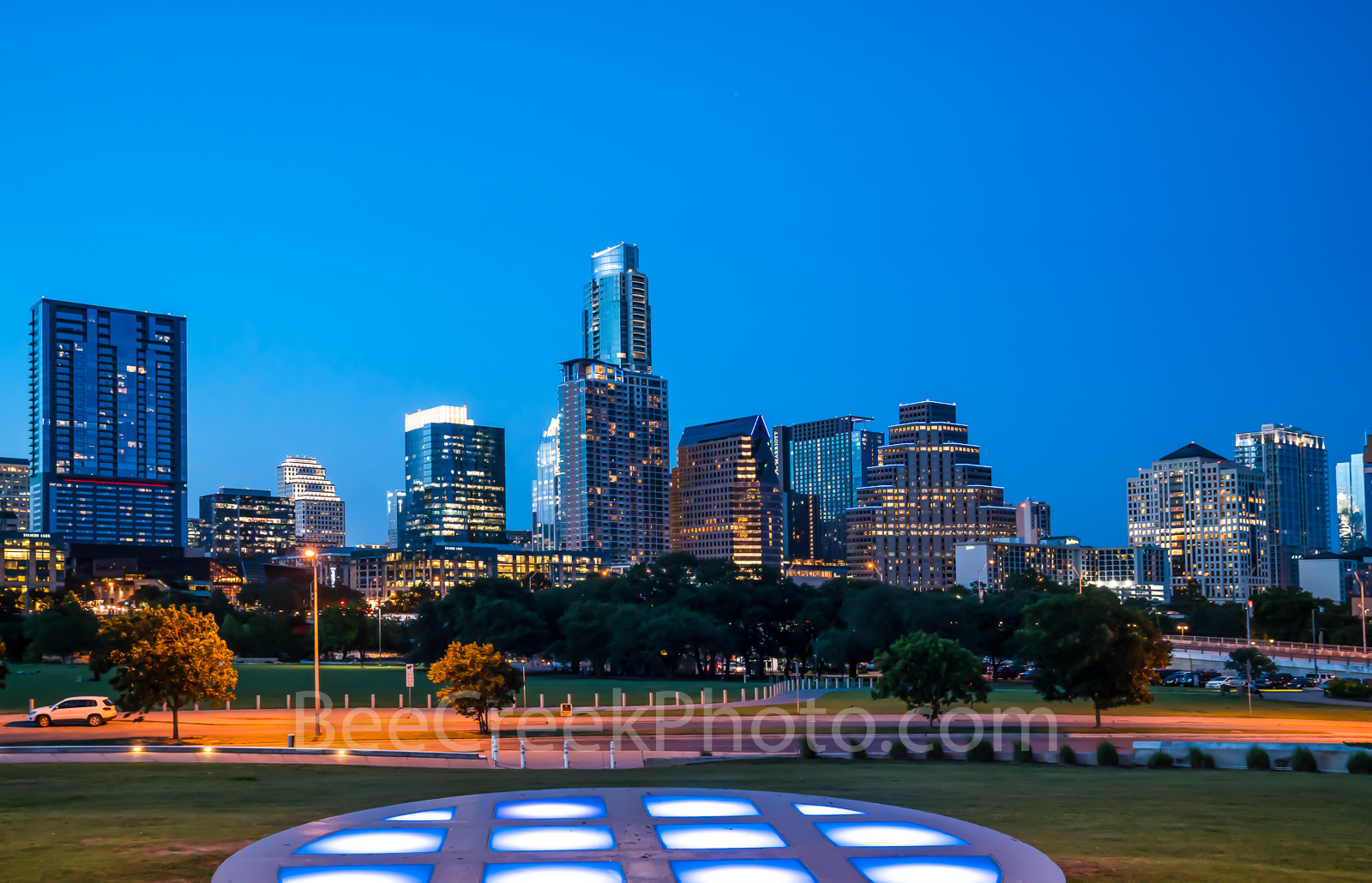 Austin Twilight Skyline  - We capture this image of Austin Twilight skyline from the Long Center circle of lights vantage...