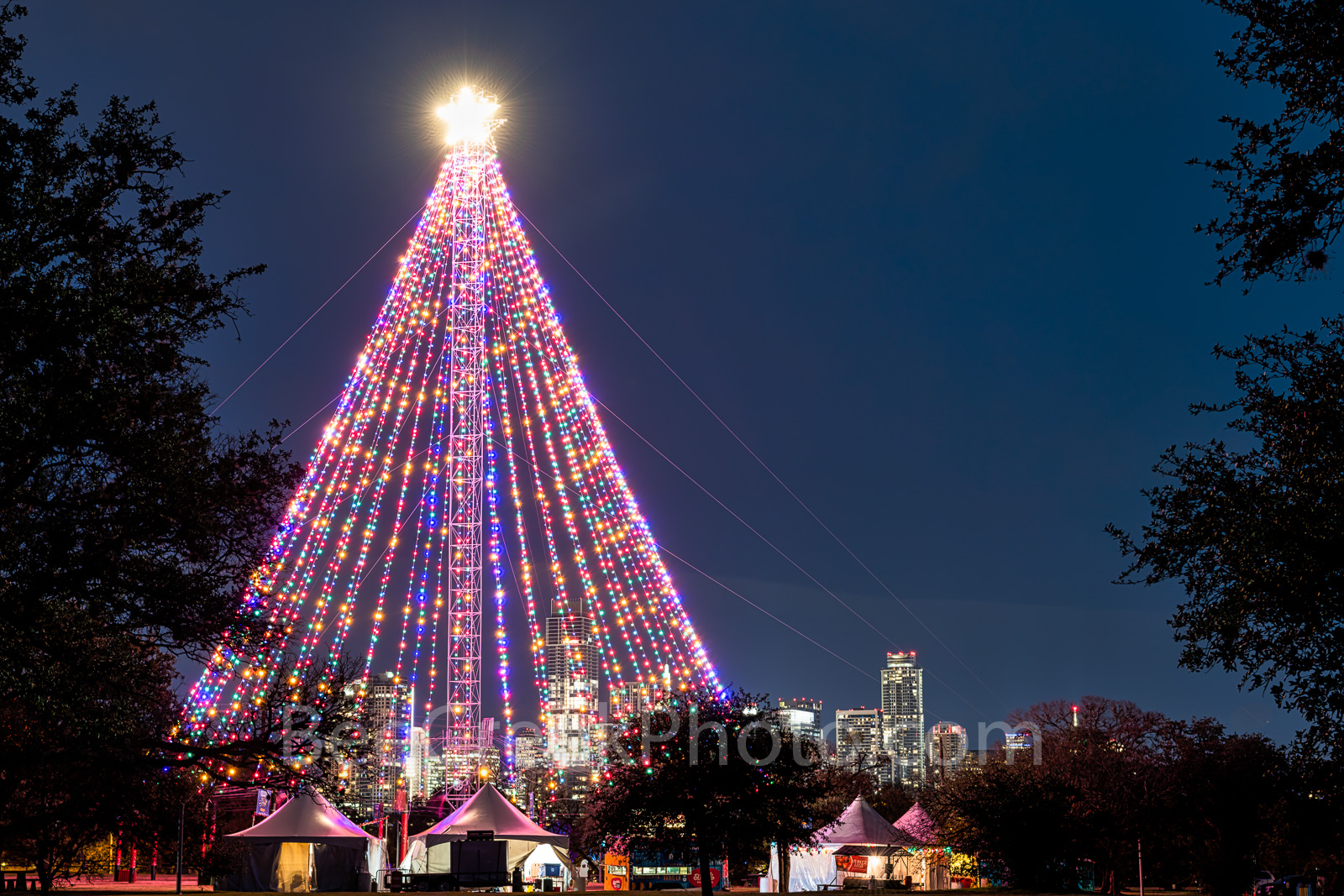 Austin, Zilker Christmas Tree,  Austin skyline, downtown,  city, high rise, moon tower, downtown, zilker holiday tree,, photo