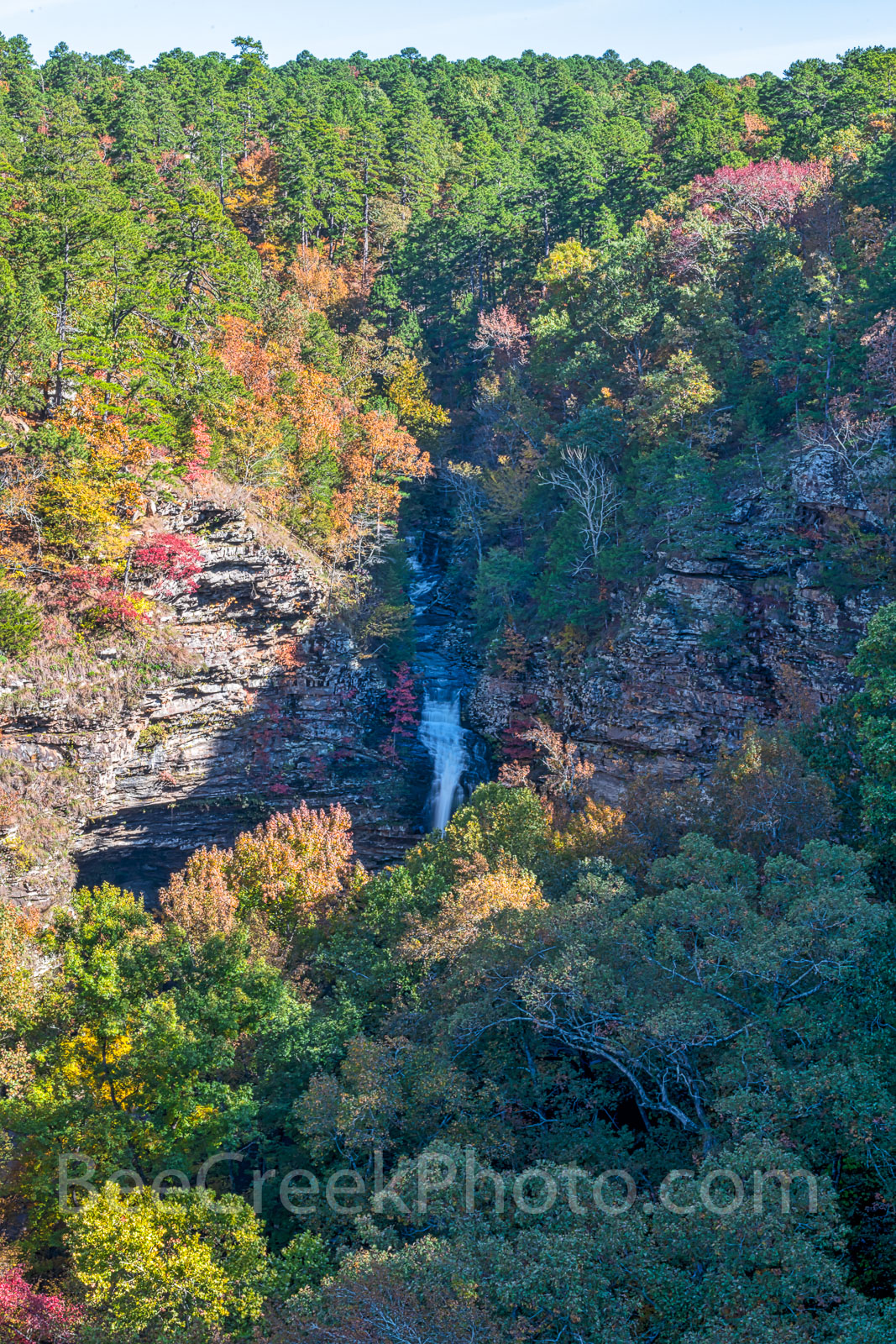 cedar fall, waterfall, bluff, cliff, colorful trees, autumn, fall colors, river, pines, southern yellow pine, maples, sweet gum, black hickory, waters, Lake Bailey, stream, vertical, fall scenery, , photo