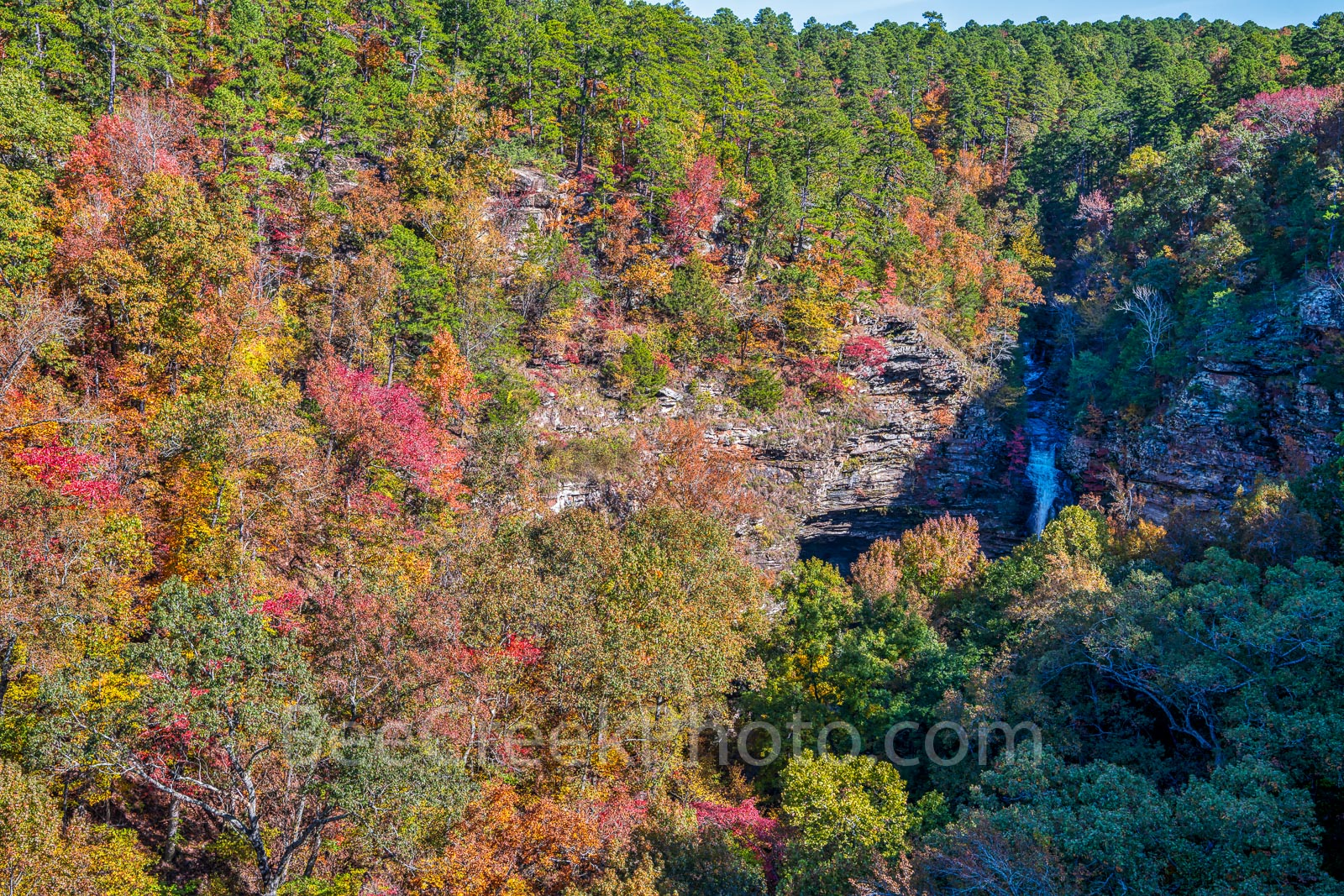 cedar fall, waterfall, bluff, cliff, colorful trees, auatumn, fall colors, river, pines, southern yellow pine, maples, sweet gum, black hickory, waters, Lake Bailey, stream, wilderness, scenic, scener, photo