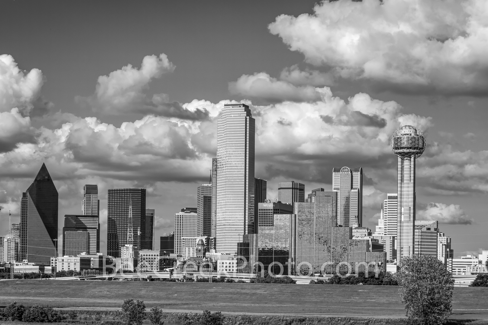 Dallas, dallas skyline, skyline,  downtown, city, high rise, skyscrapers, landscape, architecture, black and white, Reunion tower, bank of america, trinity river, , photo