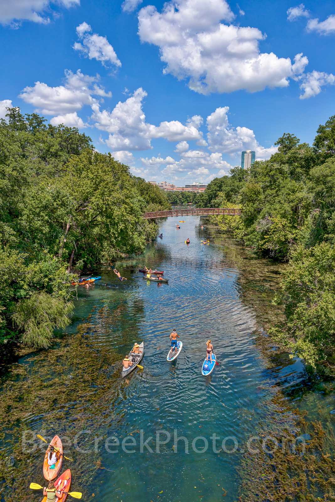 Austin, Barton Spring creek, Lady Bird Lake, Barton Springs, creek, trees, Canoeing, kayaking, Sups, Zilker park, Places to go in Austin, Places to see in Austin Tx, spring fed waters, natural, vertic, photo