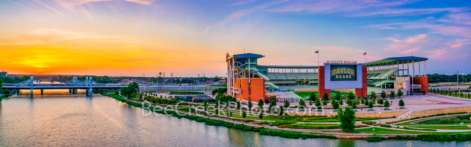 Waco, sunset, aerial, Baylor, McLane Stadium, Baylor University, dusk, blue hour, Baylor Bears, stadium , University of Baylor, school, Brazos river, panorama, pano, drone, campus, stay bridge, colore, photo