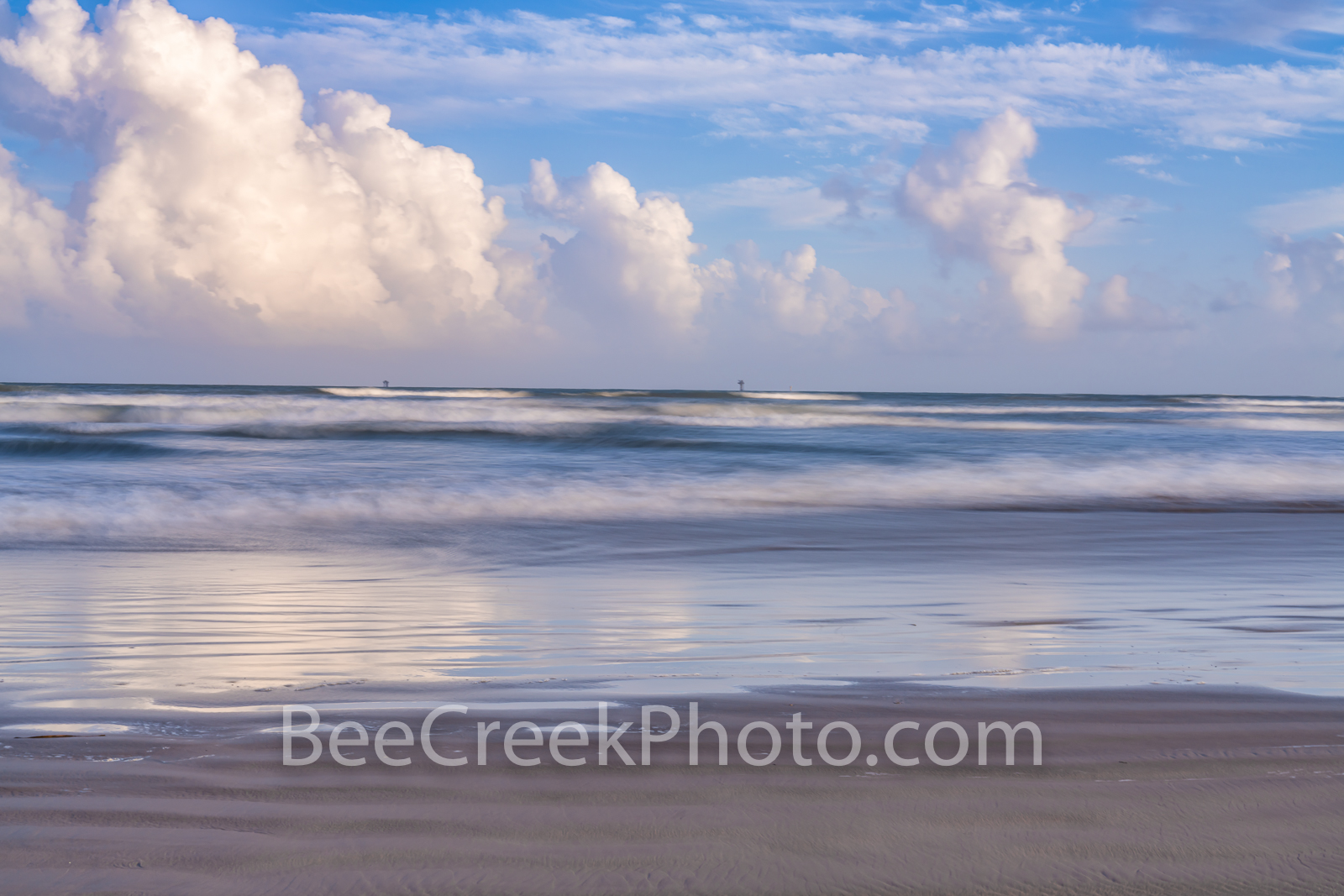 port aransas, beach, beach,  clouds, gulf of mexico, port a, sea, ocean, blue, clouds, reflections, reflect, beautiful, pastel, colors, colorful, seascape, beach scene, texas coast, coastal, coastal i, photo
