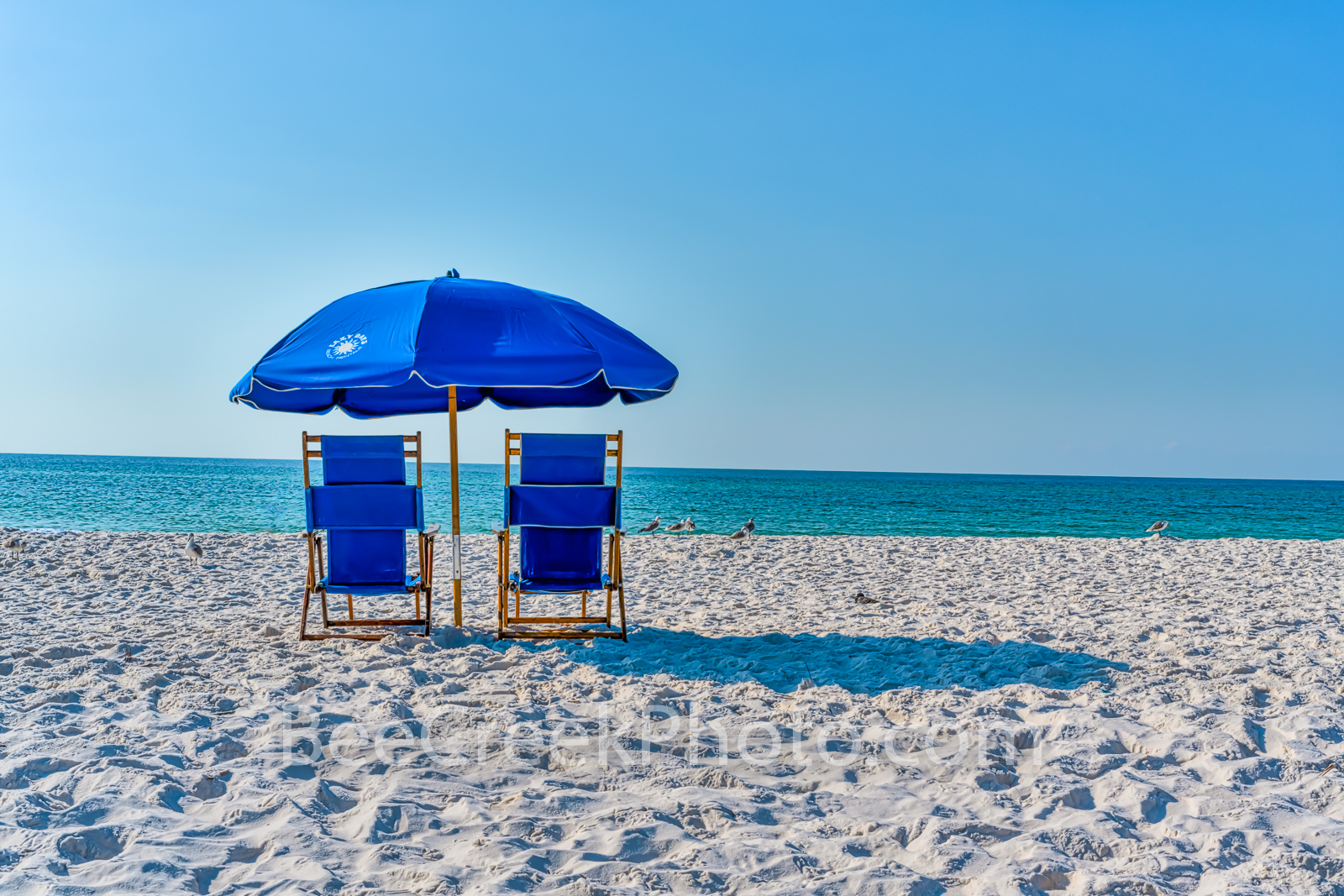 Beach Serenity - We loved the blue beach umbrella and chairs with only white sand the gulf and seagulls is says to chiling with...