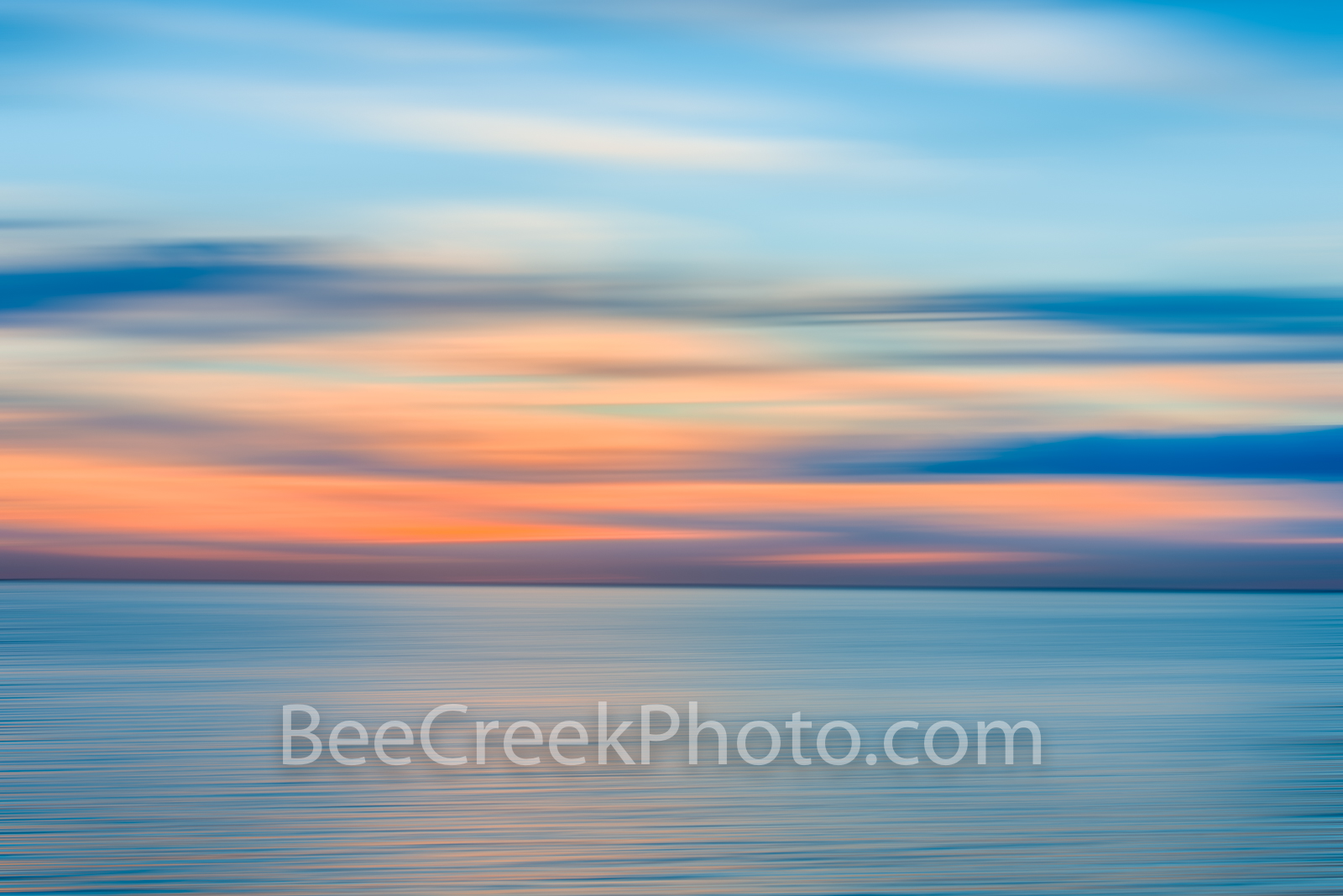Blue Ocean Pastel - Sunset over ocean waves as a digital abstract with this long exposure effect. We capture this image and created...