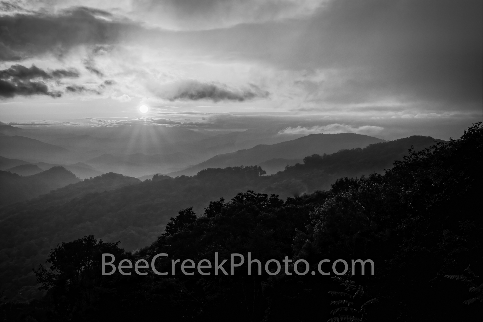 Blue Ridge Mountain Sunset  B W - Another capture of the blue ridge mountains at sunset with this smokie haze which the Smoky...