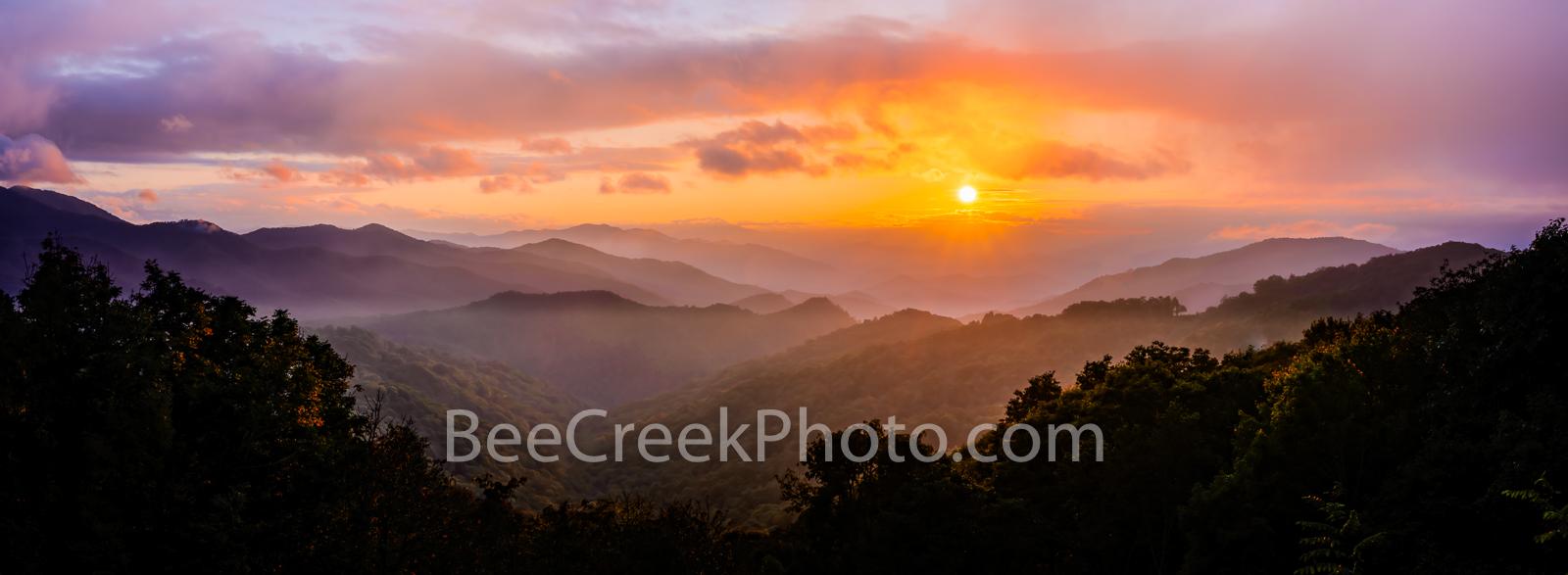 Blue Ridge Mountain Sunset Pano - Another capture of the blue ridge mountains at sunset with this smoky haze which the Smoky...