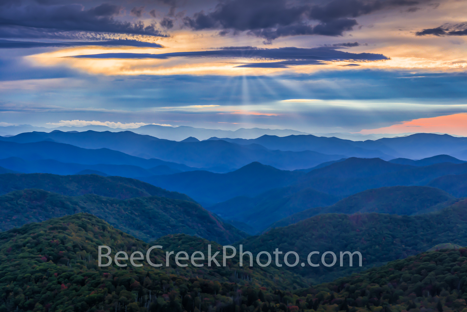 blue ridge, blueridge, blue ridge mountains, smoky mountains, overlook, sunset, color, colors, painterly, orange, blue, purples, yellow, orange, pink, peak, ridges, valley, clouds, moody, nc, north ca, photo