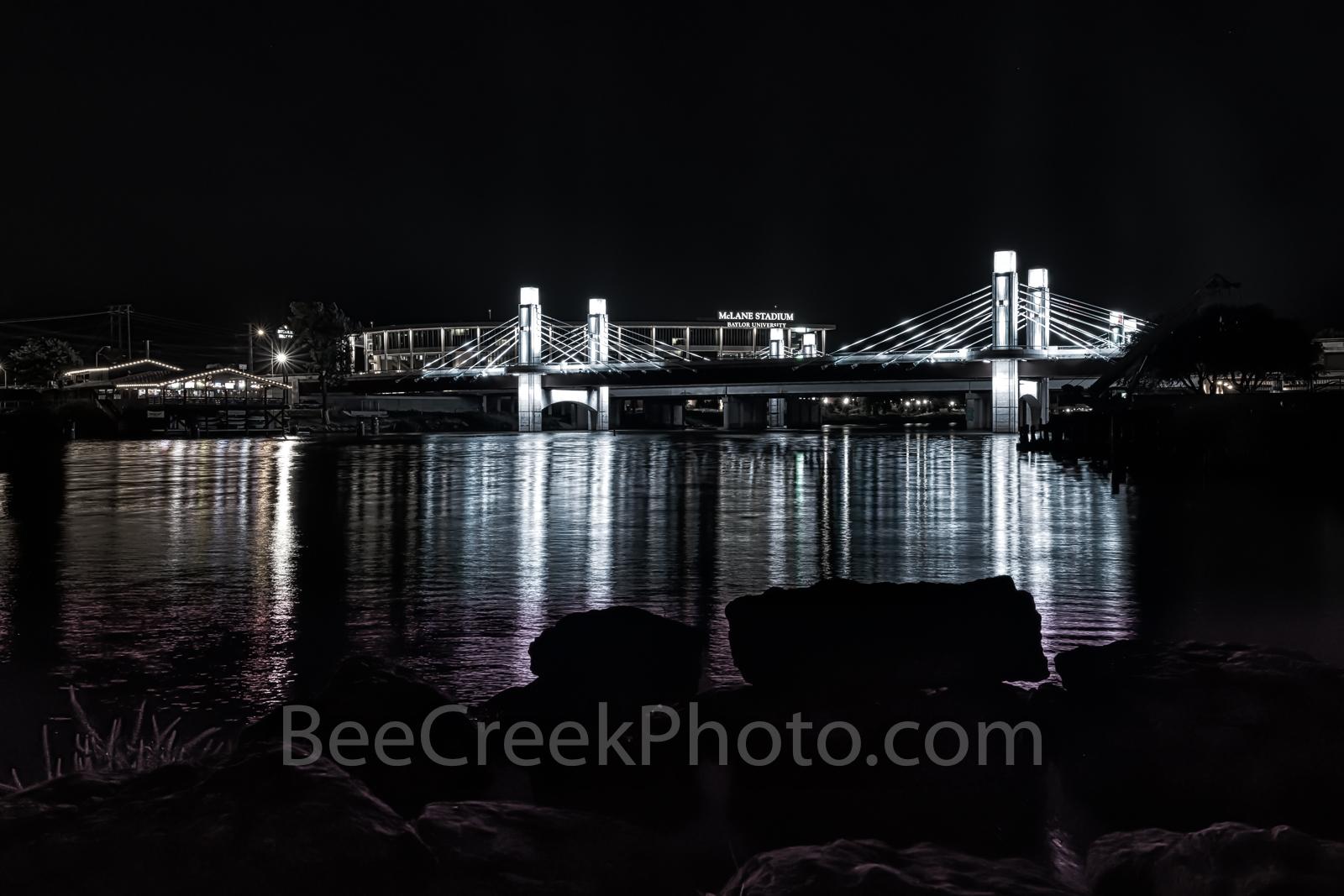 Waco, Brazos River bridge, night, downtown, IH35 stay bridge, lights, texas, Jack Kultgen Freeway, black and white, BW, McLain Stadium, Baylor Univeristy, reflected, reflection, buzzard Billys,, photo