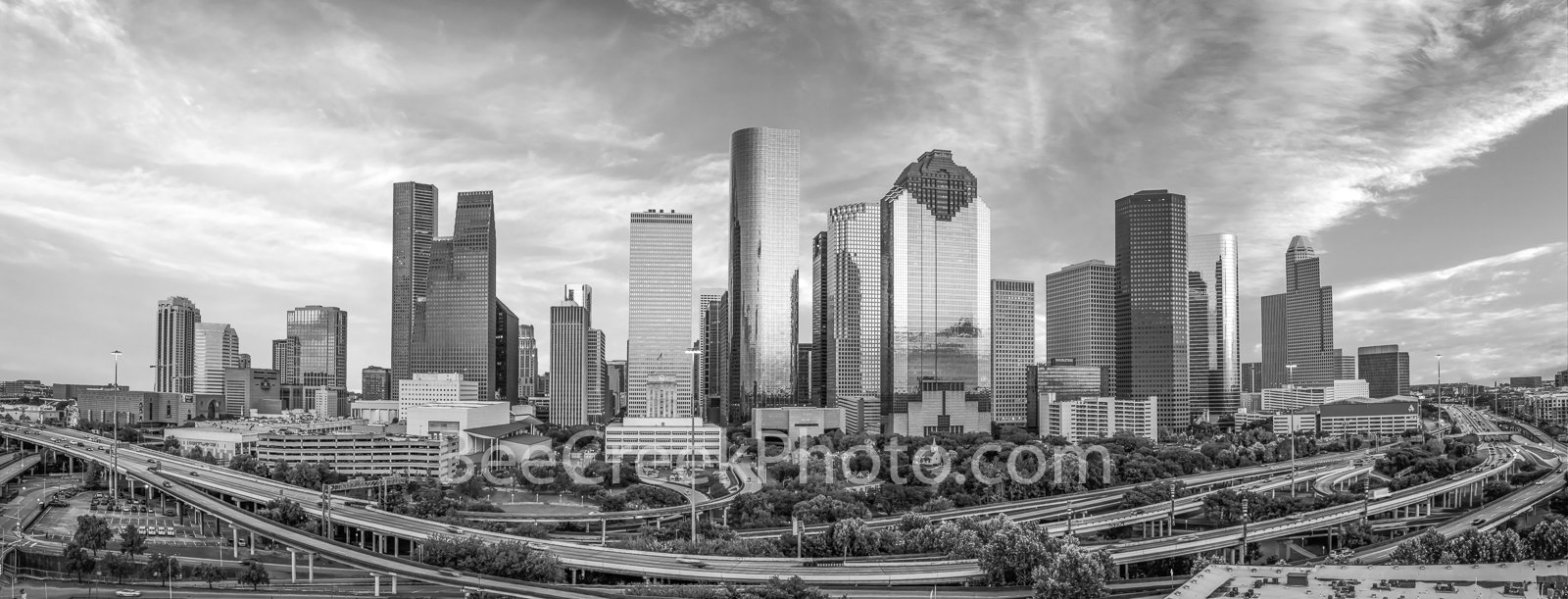 Houston, skyline, aerial, black and white, bw, cityscape, clouds, low light, city, downtown, skyscrapers, buildings, high rise, IH45, museum district, art, culture, music, population, drone, urban, US, photo