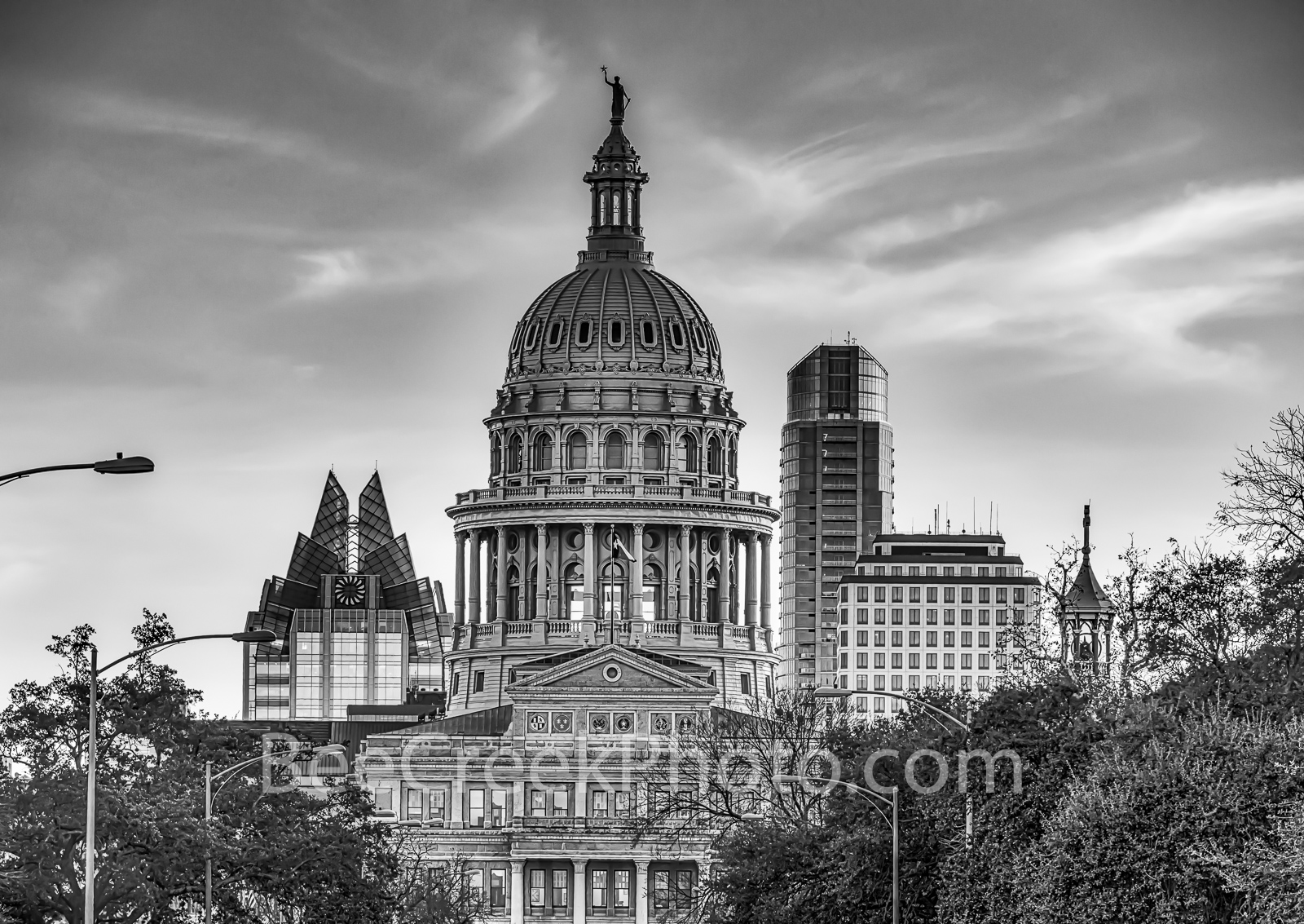 Capitol of Texas B W North View - The Capitol of Texas at sunset in downtown Austin with the city skyline behind it is a stunning...