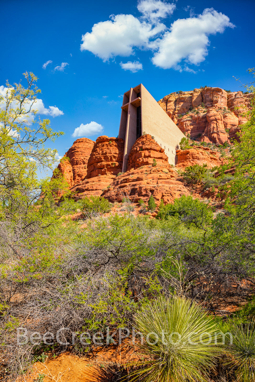 Chapel of the Holy Cross Vertical  -  Its not often you see a structure built into the side of a mountain but the Chapel of the...
