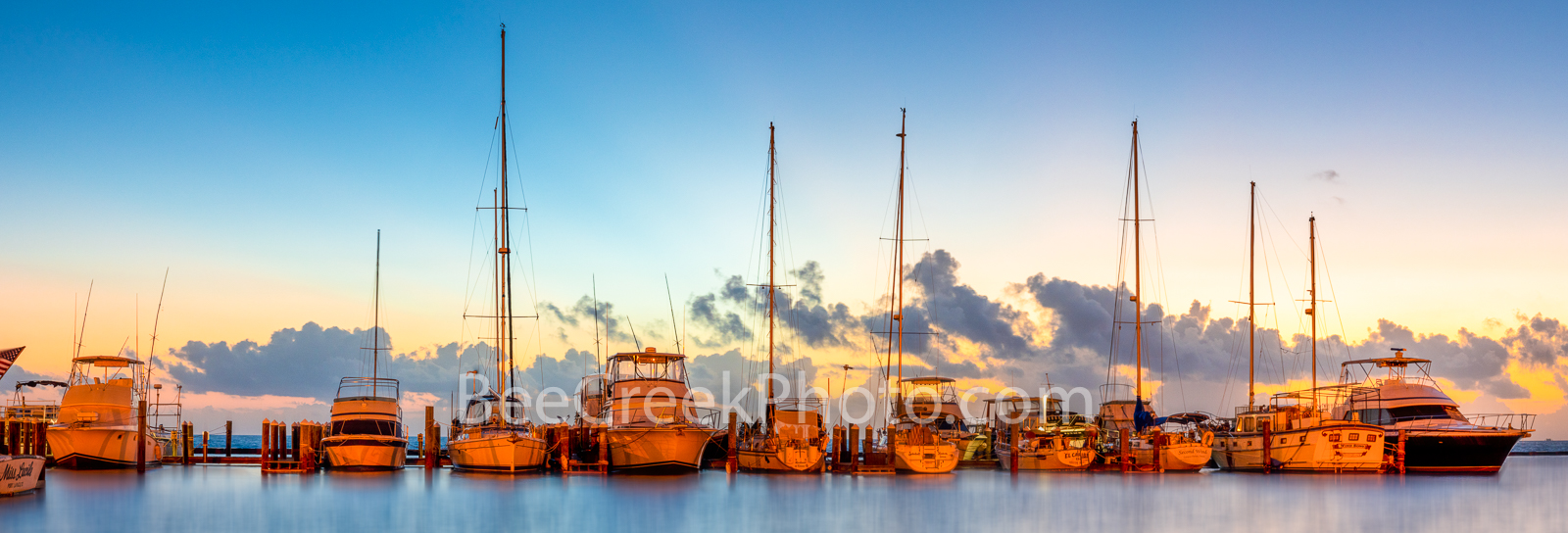Colorful Dawn at Fulton Harbor Pano -  A colorful magic hour right at dawn before sunrise at the Fulton Harbor marina along the...