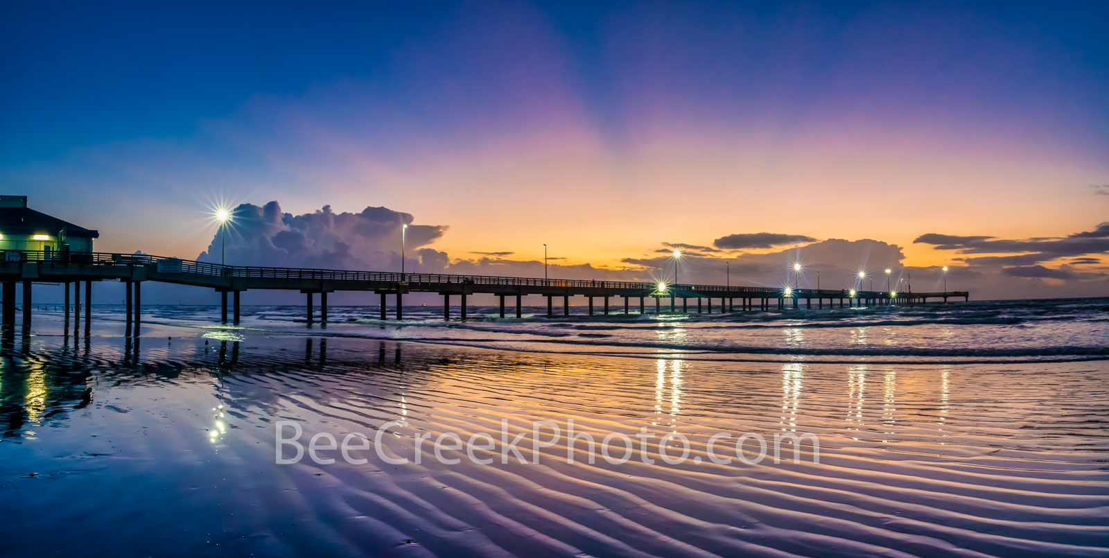 Colorful Dawn Port Aransas Pier - This is the magic hour before the sunrise when the colors in the sky cast these wonderful colors...