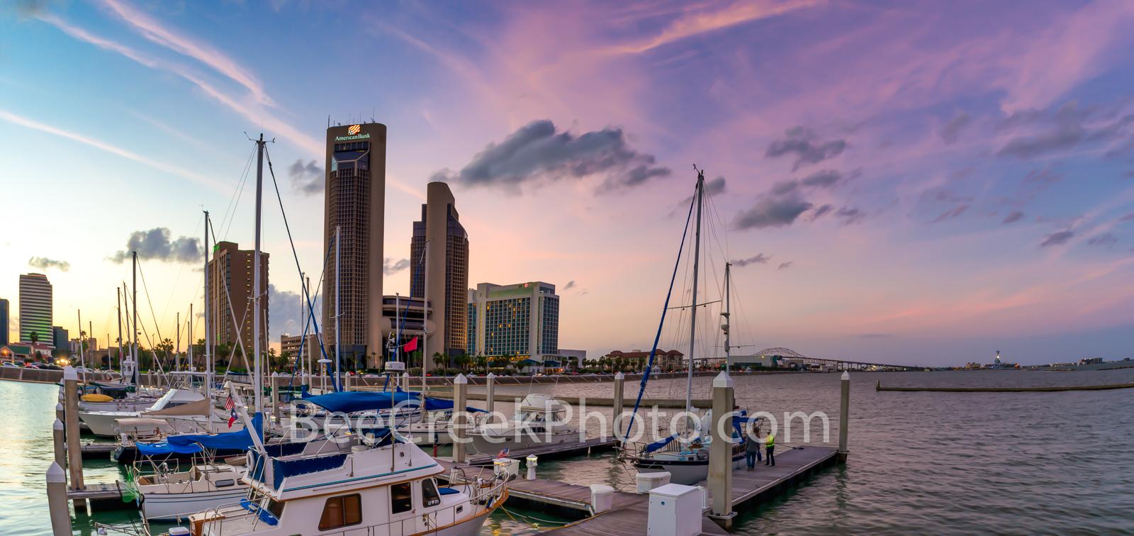 Corpus Christi, skyline, corpus skyline, city, sunset, marina, bay, harbor bridge, water, boats, dusk, panorama, pano, sailboats, dock, seascape, oceanscape, clouds, colorful skies, battleship, bridge, photo