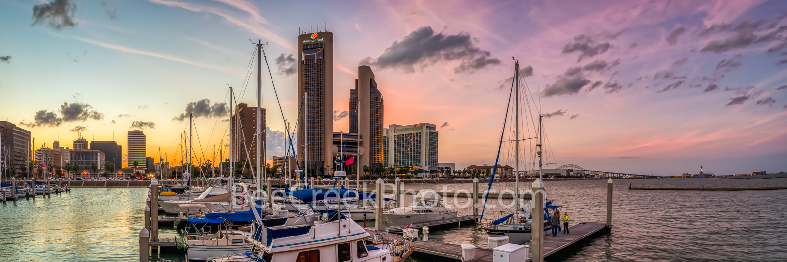 Corpus Christi Sunset Pano - This photo was taken from the other side of the marina looking back at the Corpus Christi skyline...