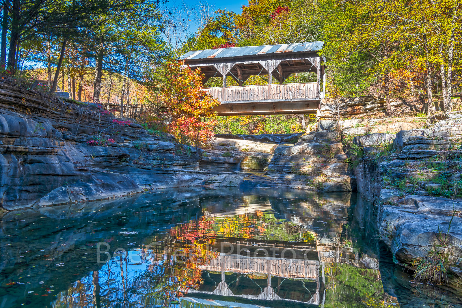 covered bridge, ozarks, fall, autumn, bridge, color, reflection, reflections, autumn, day, pool, water, creek, natural, wilderness, forest,