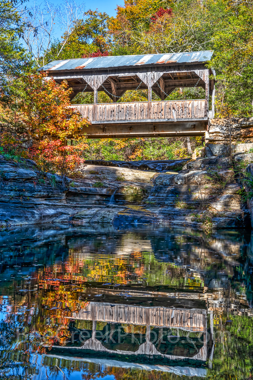 covered bridge, ozarks, fall, autumn, bridge, colors, reflection, autumn, day, pool, water, creek,natural, wilderness, forest, vertical, fall scenery, fall color, , photo
