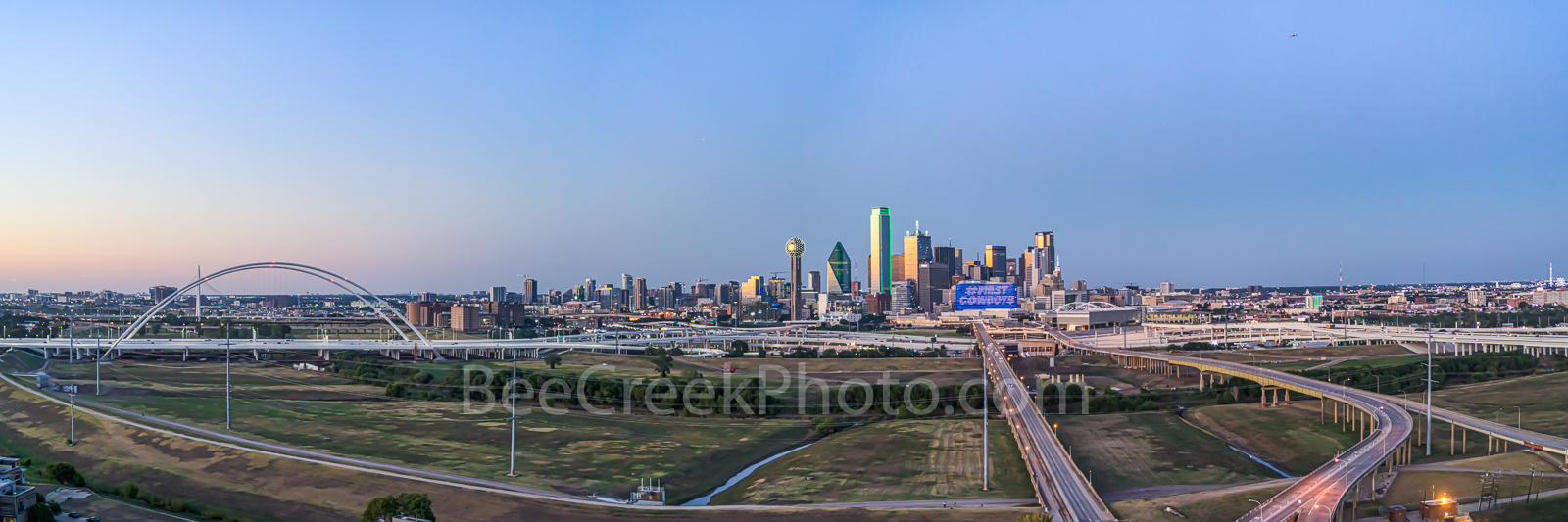 Dallas, drone, aerial, image, downtown, pano, panorama, twilight, blue hour, Margaret McDermott Bridge, cityscape, high rise, building, Trinity river, freeway, sunset,, photo