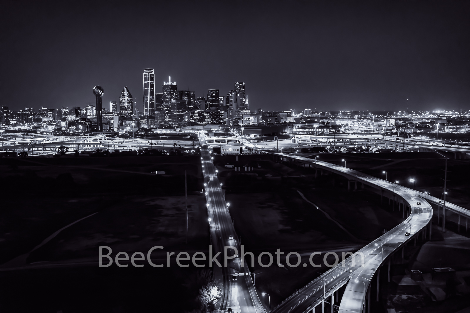 Dallas, skyline, black and white, b w, downtown, buildings, high rise, skyscrapers, Texas, high tech, banking, metro plex, , photo