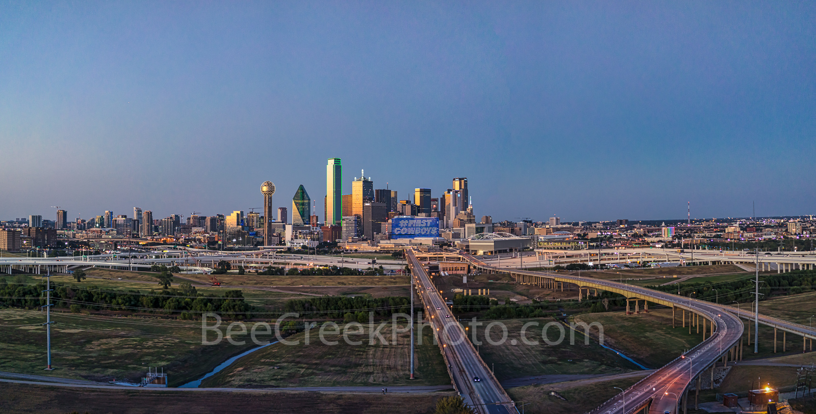 Dallas, drone, aerial, image, downtown, pano, panorama, twilight, blue hour, cityscape, high rise, building, Trinity river, freeway, sunset, photo