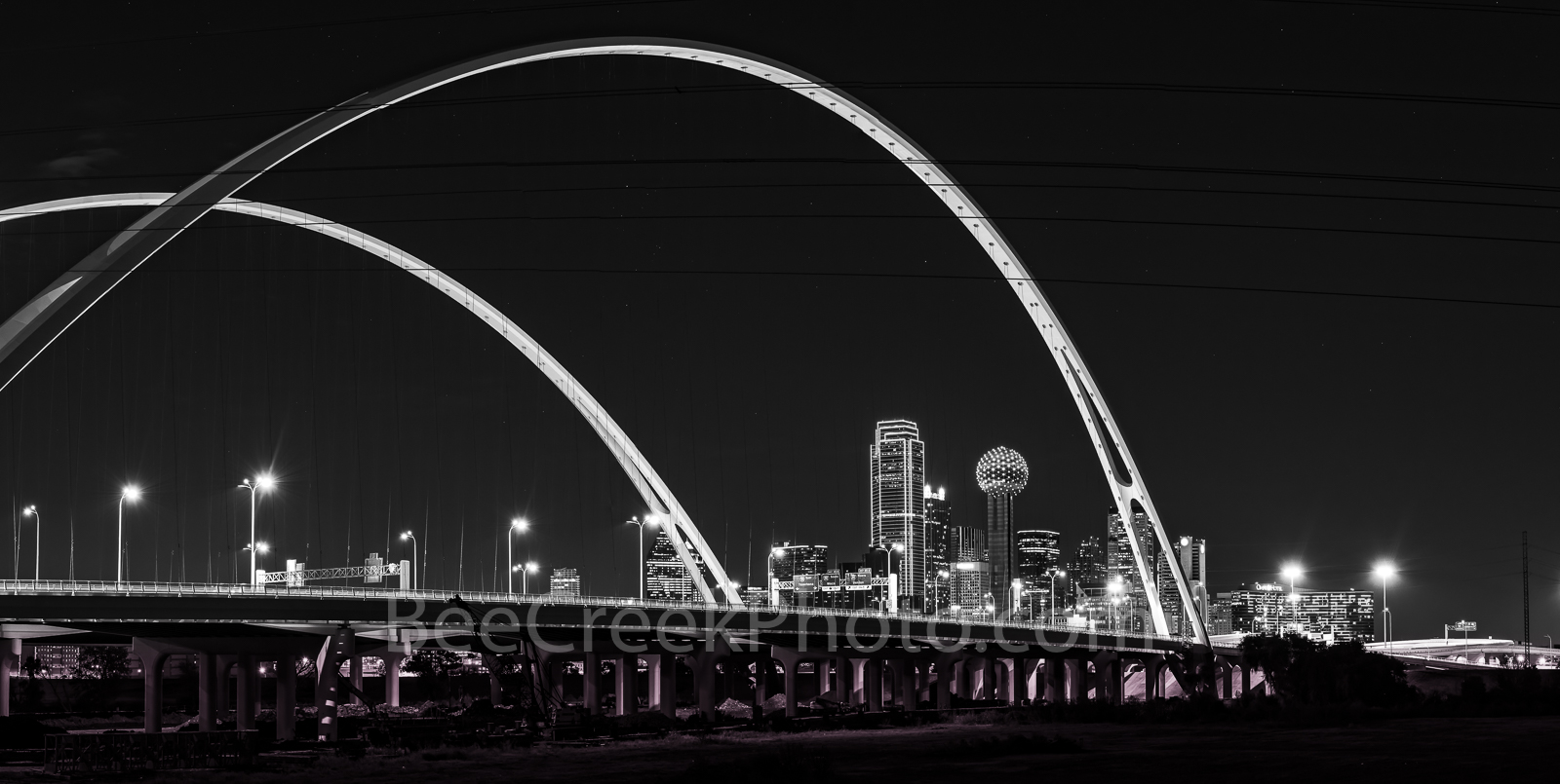 Dallas skyline, black and white, BW, cityscape, Margaret McDermott Bridge, downtown, dark, steel bridge, suspended, two arches, Trinity River, I30, Trinity project, Santiago Calatrava, pedestrian, bik, photo